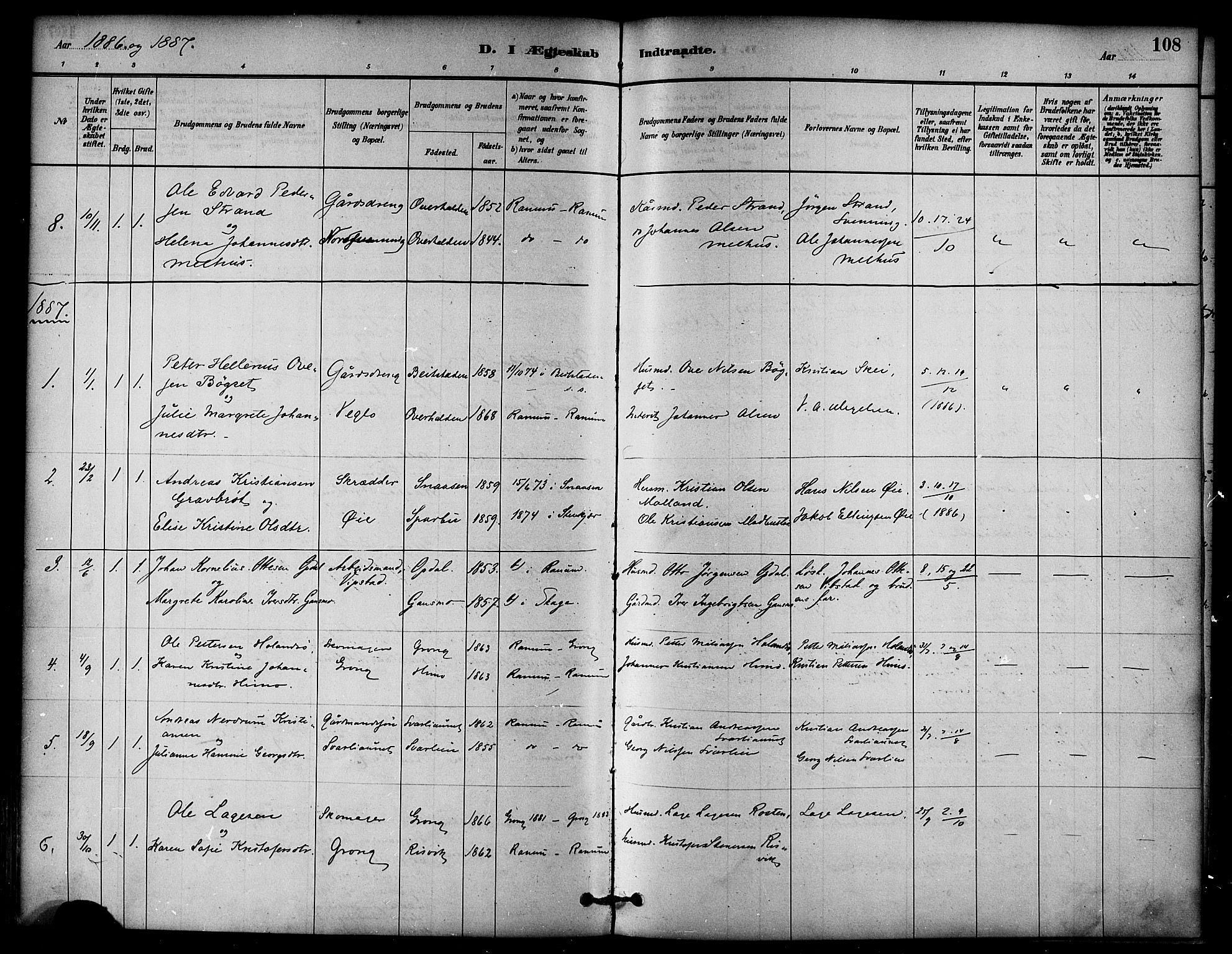 SAT, Ministerialprotokoller, klokkerbøker og fødselsregistre - Nord-Trøndelag, 764/L0555: Ministerialbok nr. 764A10, 1881-1896, s. 108
