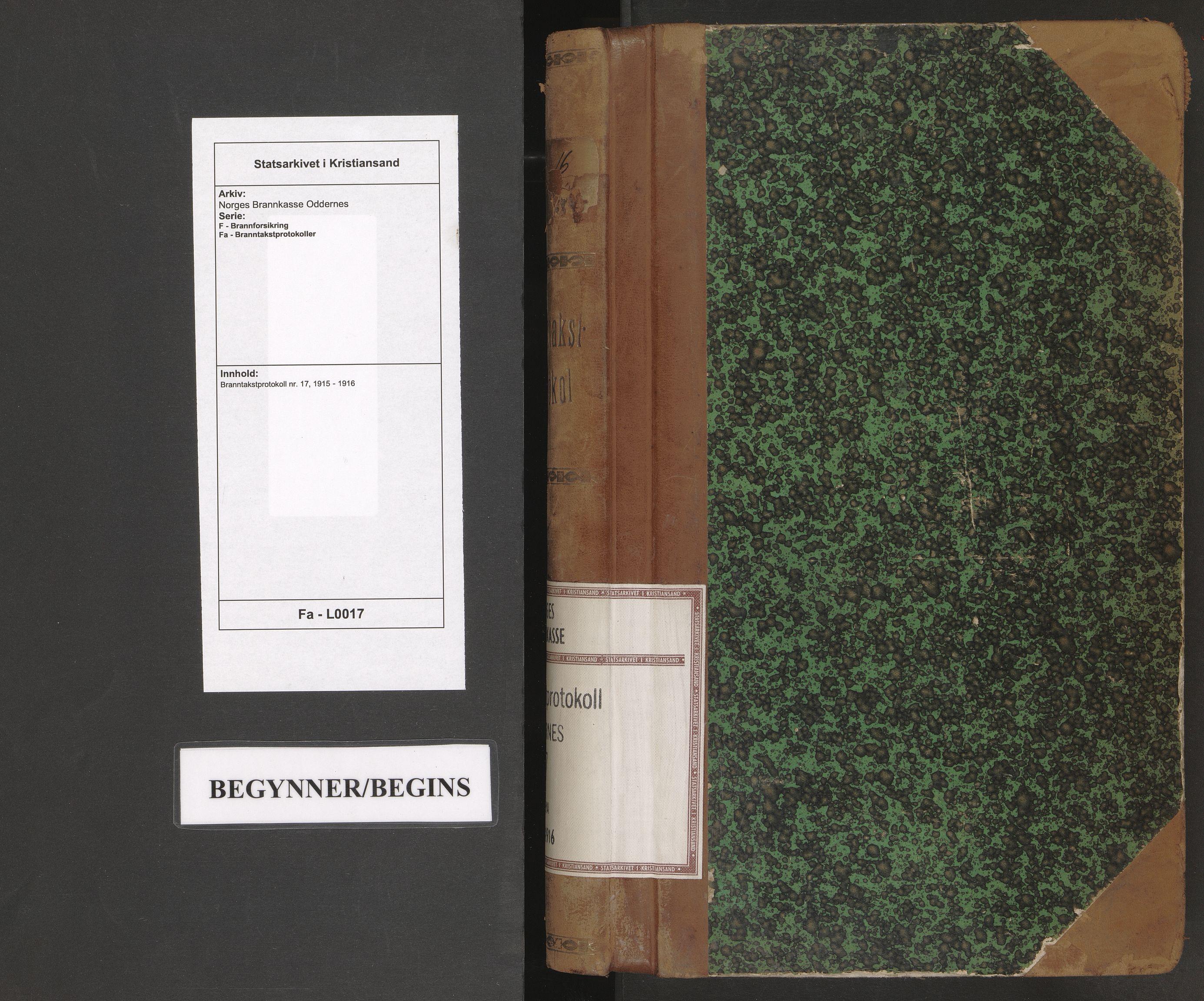 SAK, Norges Brannkasse Oddernes, F/Fa/L0017: Branntakstprotokoll nr. 17, 1915-1916