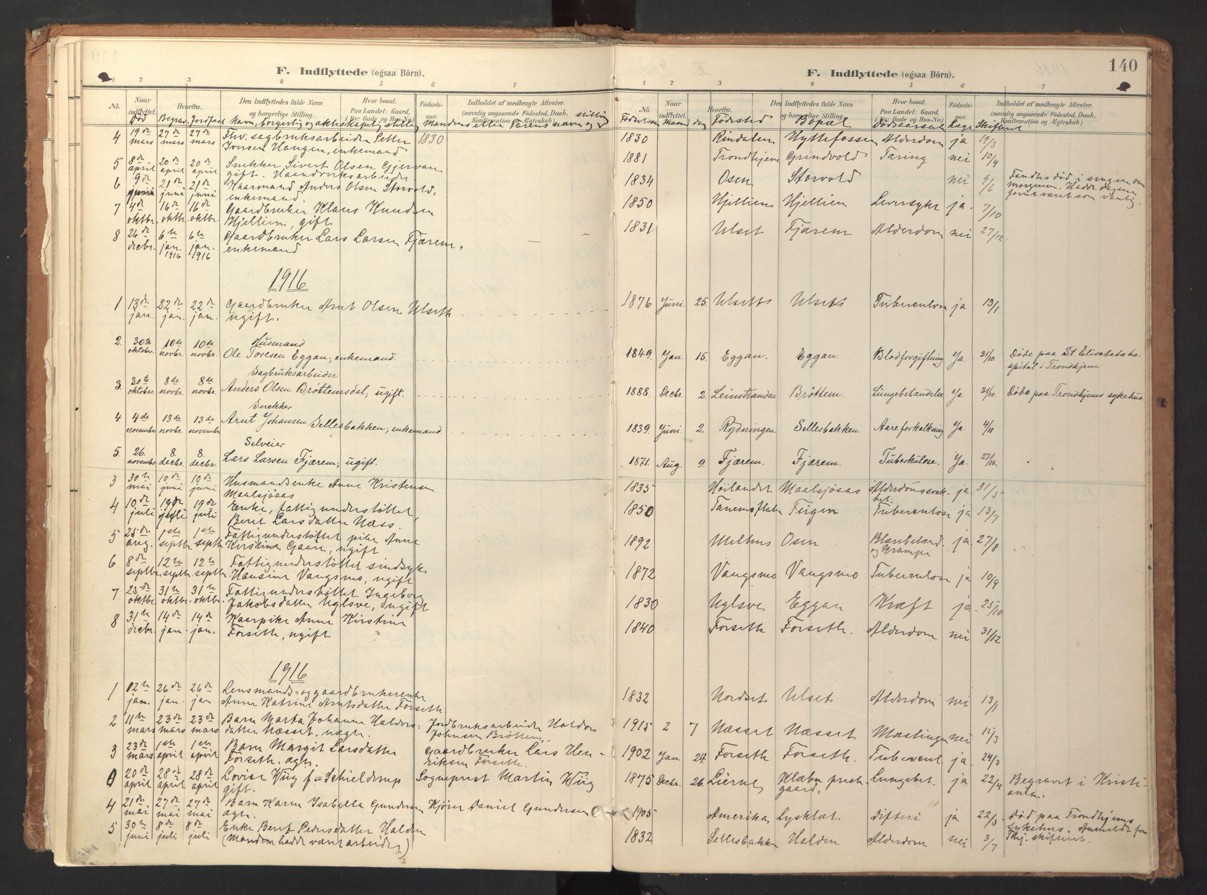 SAT, Ministerialprotokoller, klokkerbøker og fødselsregistre - Sør-Trøndelag, 618/L0448: Ministerialbok nr. 618A11, 1898-1916, s. 140