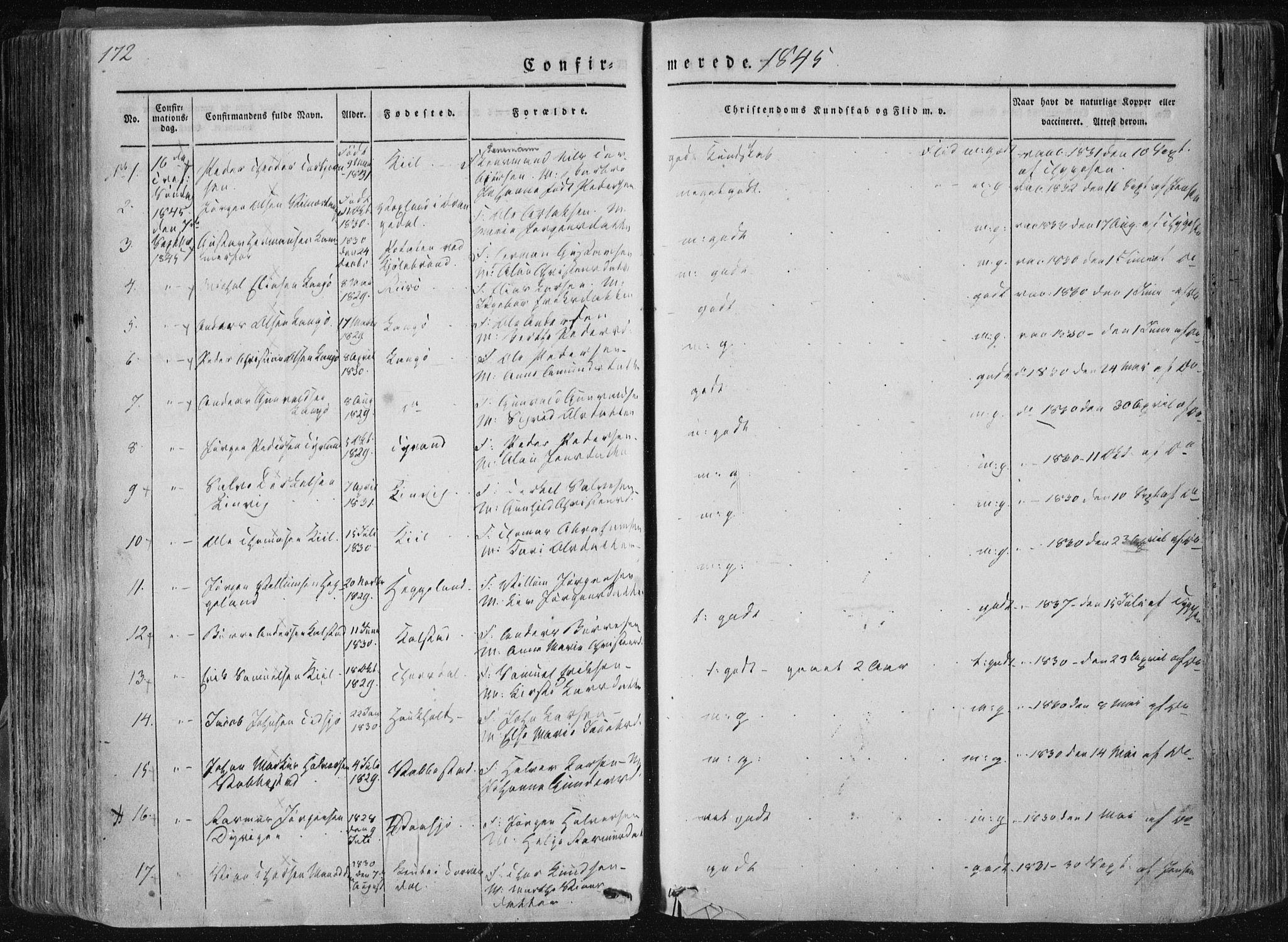 SAKO, Sannidal kirkebøker, F/Fa/L0007: Ministerialbok nr. 7, 1831-1854, s. 172