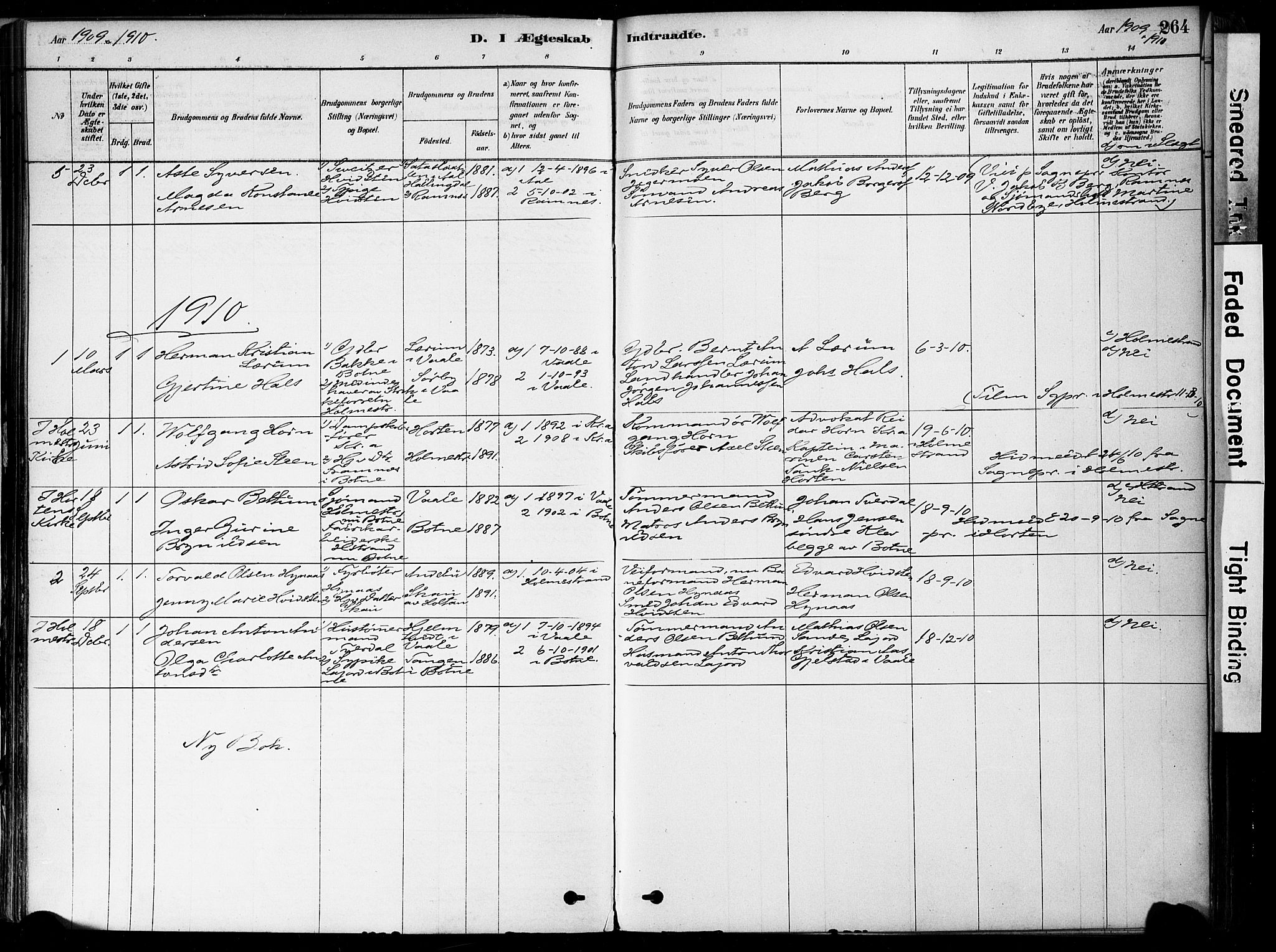 SAKO, Botne kirkebøker, F/Fa/L0007: Ministerialbok nr. I 7, 1878-1910, s. 264