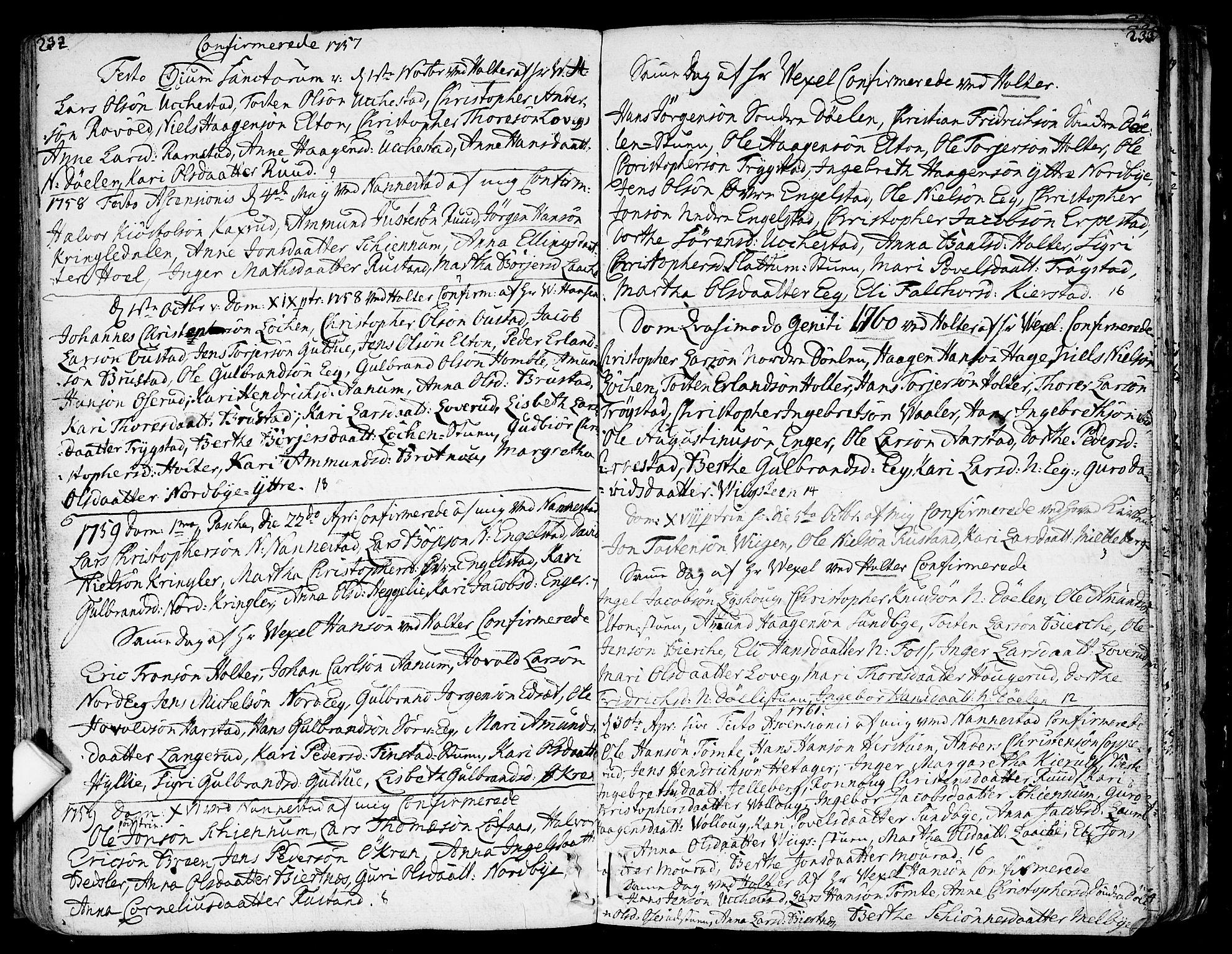 SAO, Nannestad prestekontor Kirkebøker, F/Fa/L0007: Ministerialbok nr. I 7, 1754-1791, s. 232-233