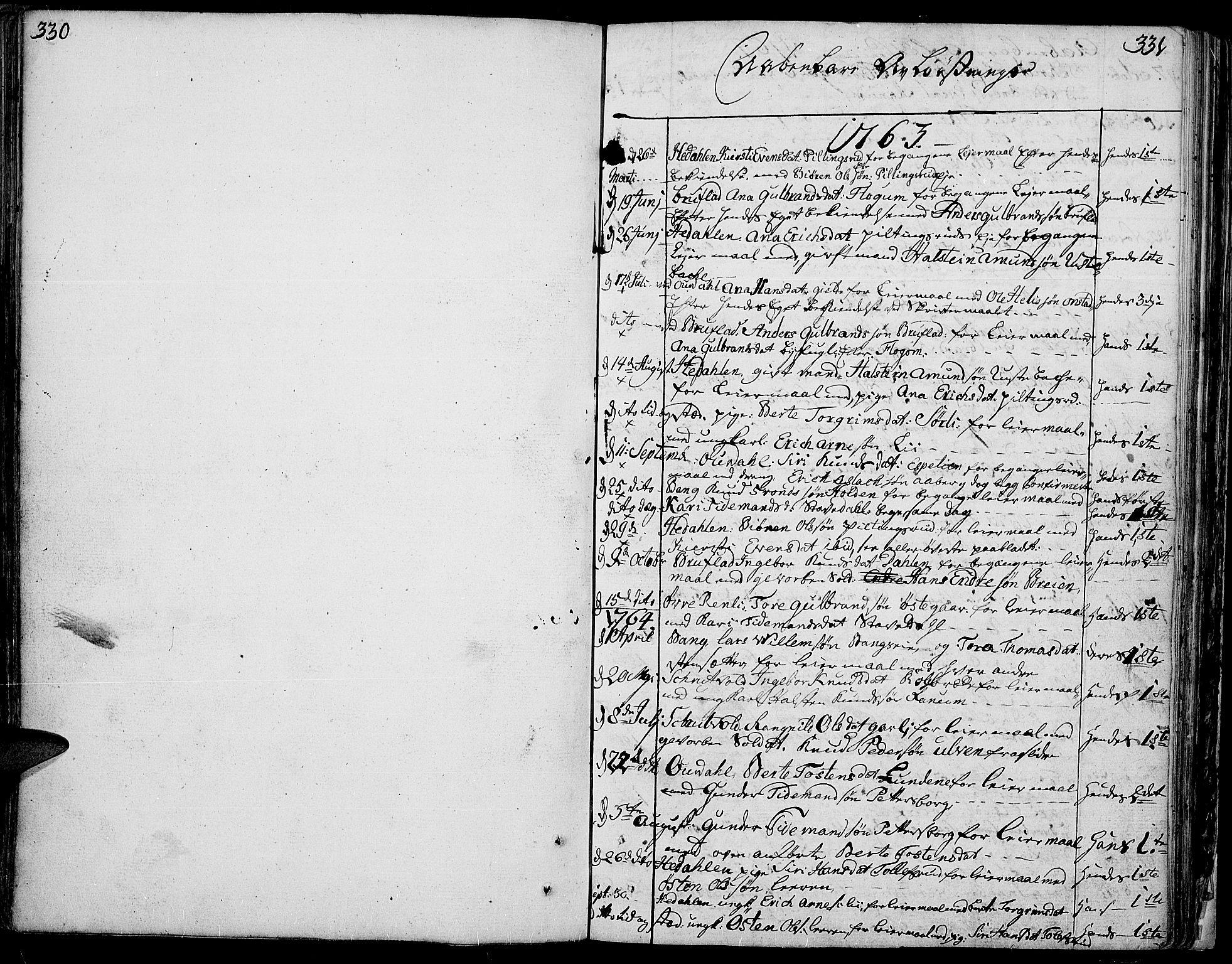 SAH, Aurdal prestekontor, Ministerialbok nr. 5, 1763-1781, s. 330-331
