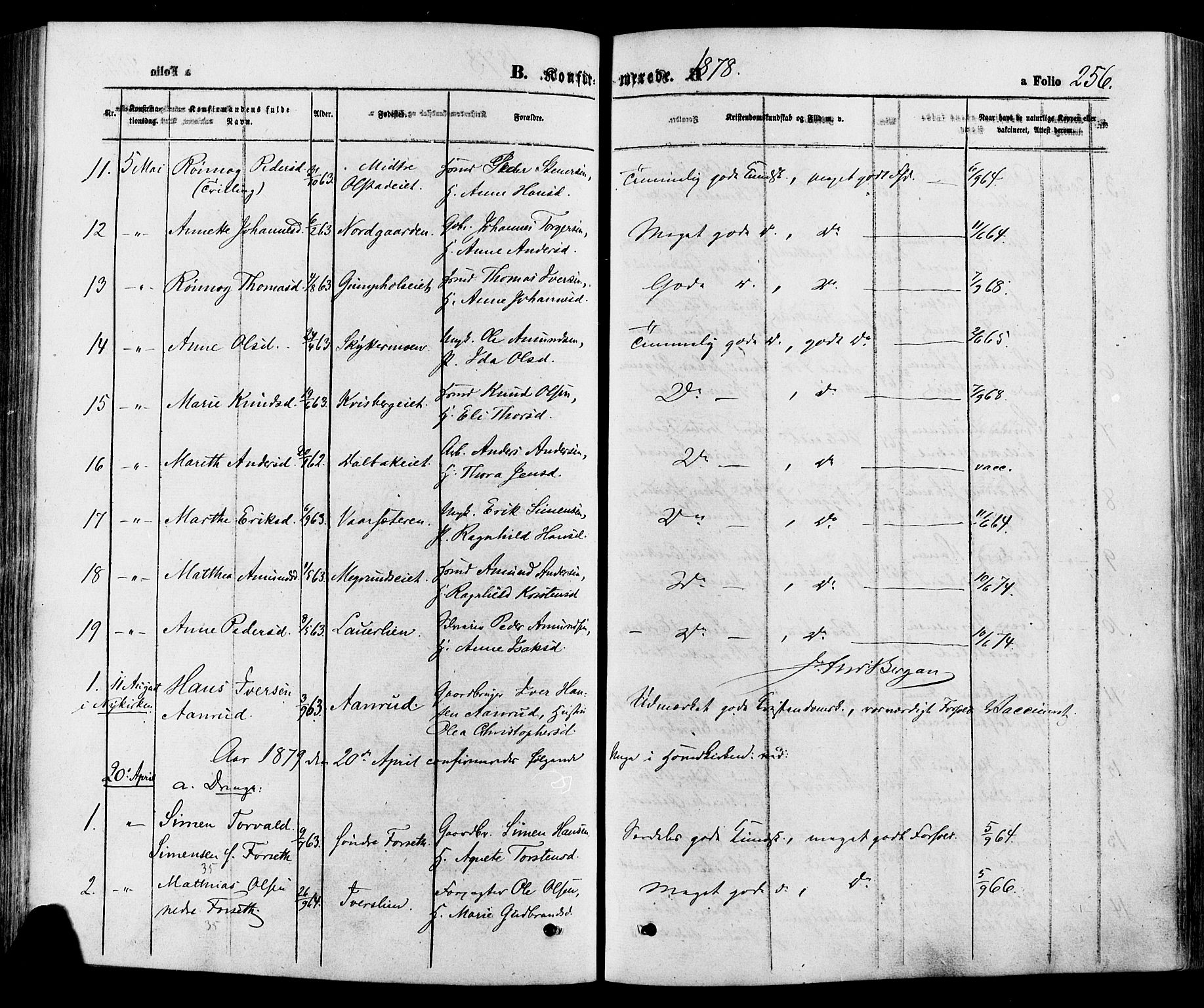 SAH, Gausdal prestekontor, Ministerialbok nr. 10, 1867-1886, s. 256