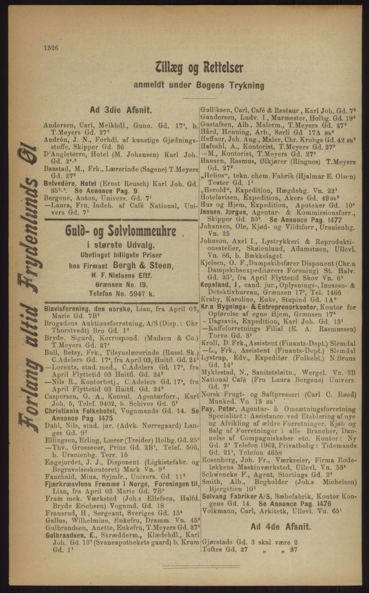 RA, Kristiania adressebok (publikasjon)*, 1903, s. 1426