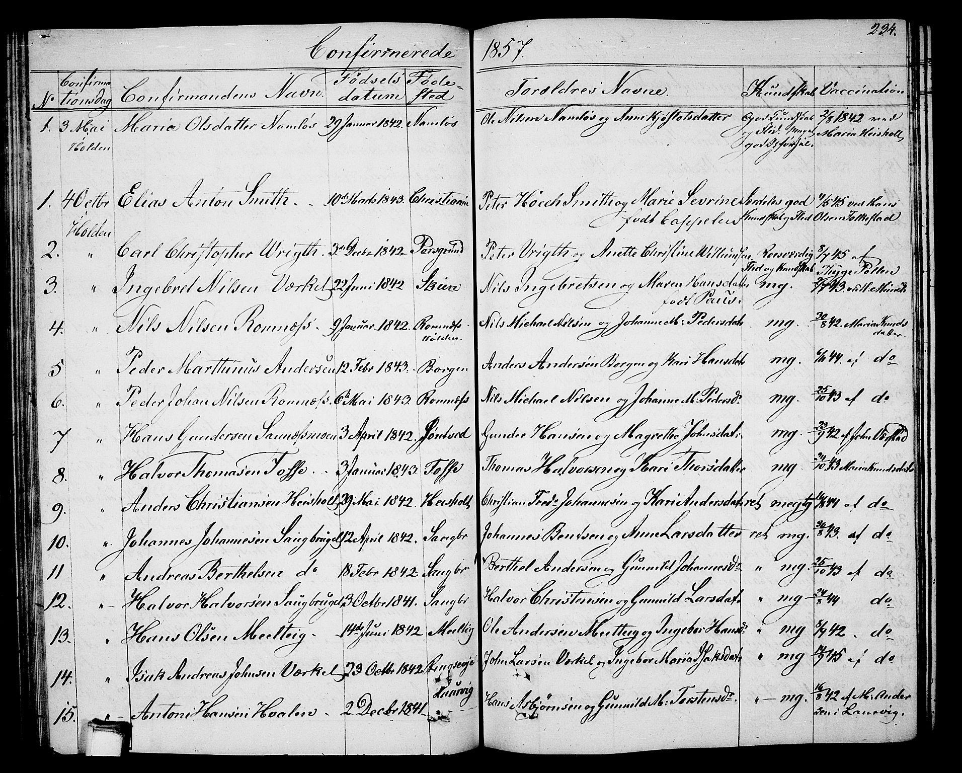 SAKO, Holla kirkebøker, G/Ga/L0003: Klokkerbok nr. I 3, 1849-1866, s. 234