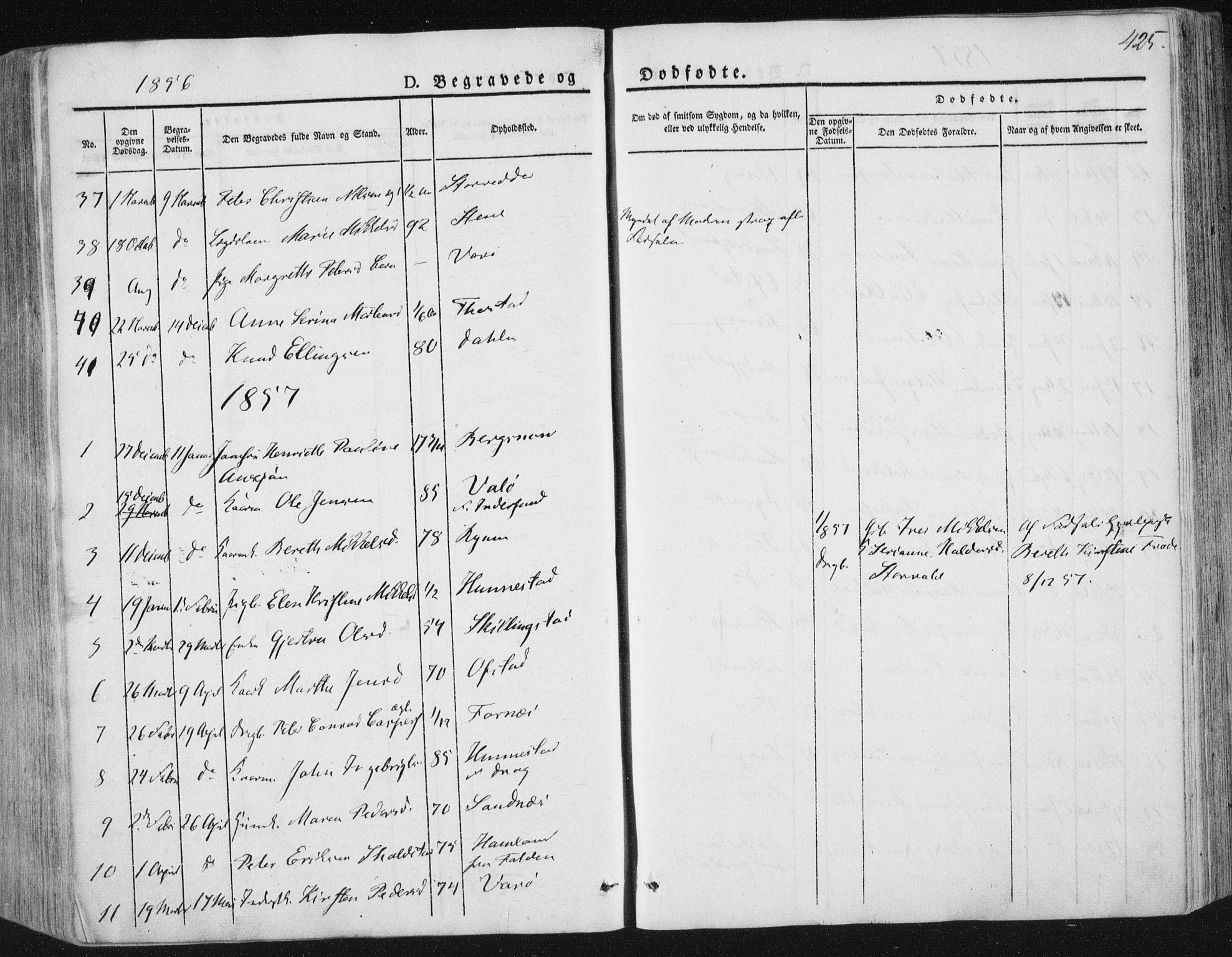 SAT, Ministerialprotokoller, klokkerbøker og fødselsregistre - Nord-Trøndelag, 784/L0669: Ministerialbok nr. 784A04, 1829-1859, s. 425