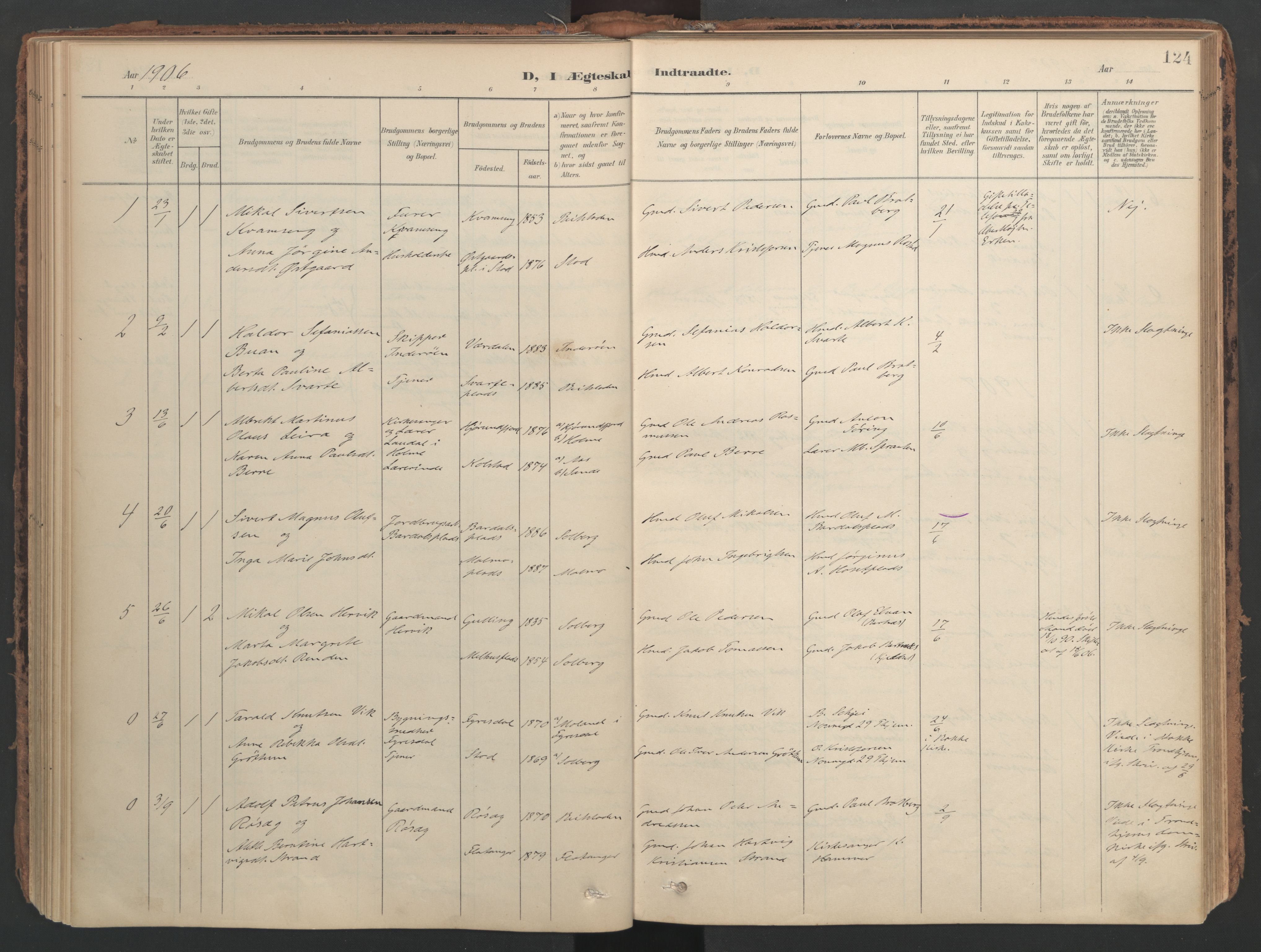 SAT, Ministerialprotokoller, klokkerbøker og fødselsregistre - Nord-Trøndelag, 741/L0397: Ministerialbok nr. 741A11, 1901-1911, s. 124