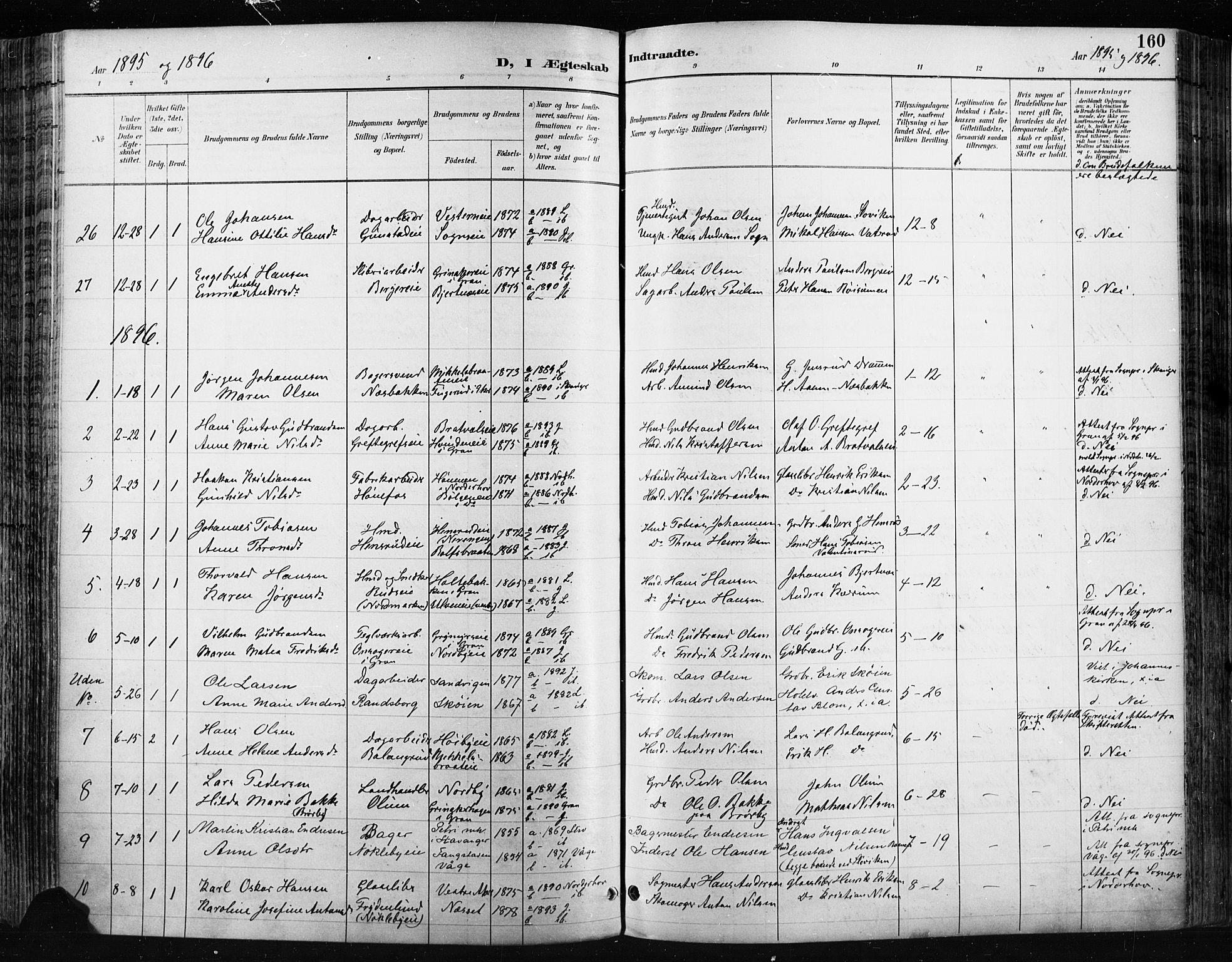 SAH, Jevnaker prestekontor, Ministerialbok nr. 9, 1891-1901, s. 160