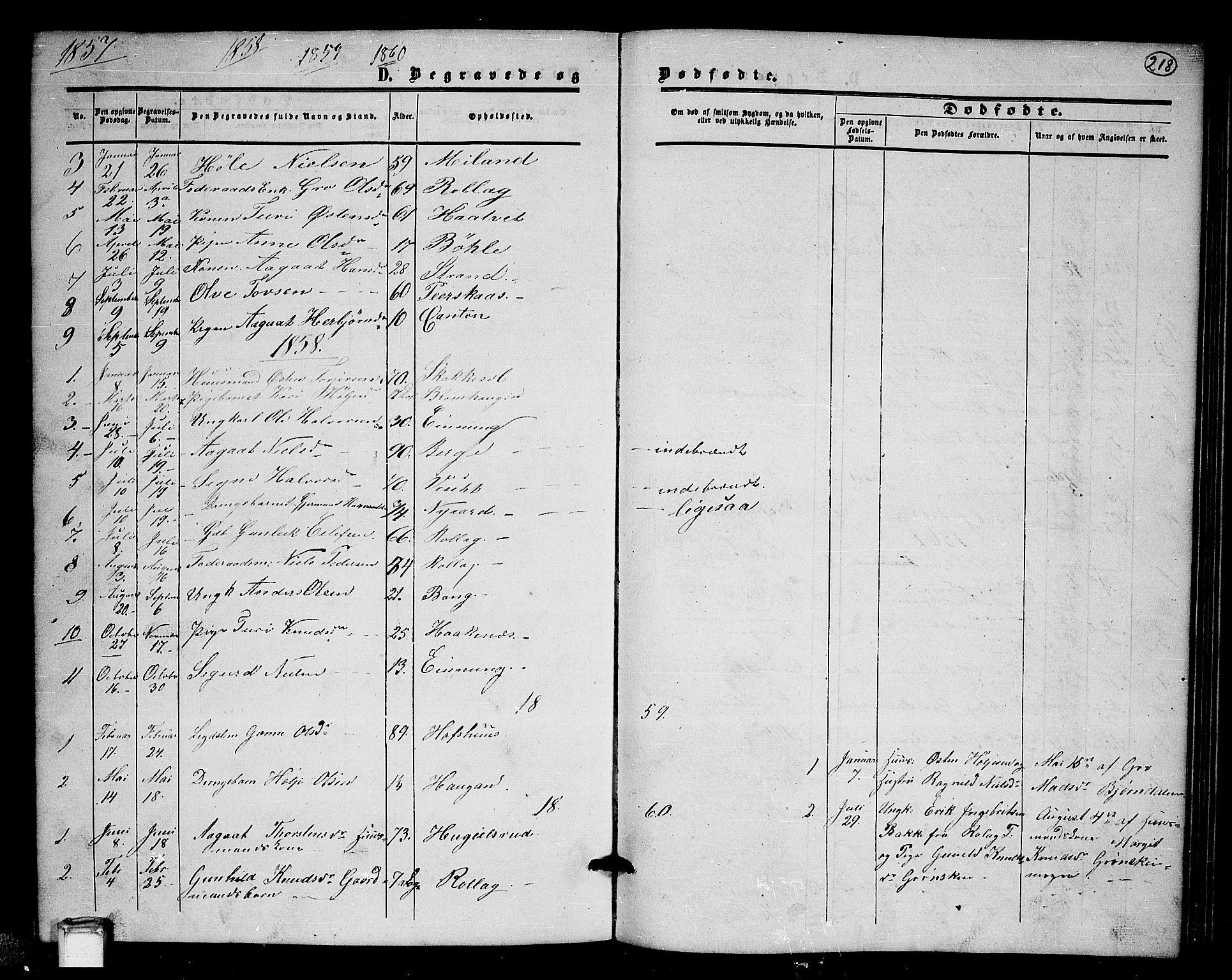 SAKO, Tinn kirkebøker, G/Gb/L0002: Klokkerbok nr. II 2, 1851-1886, s. 218