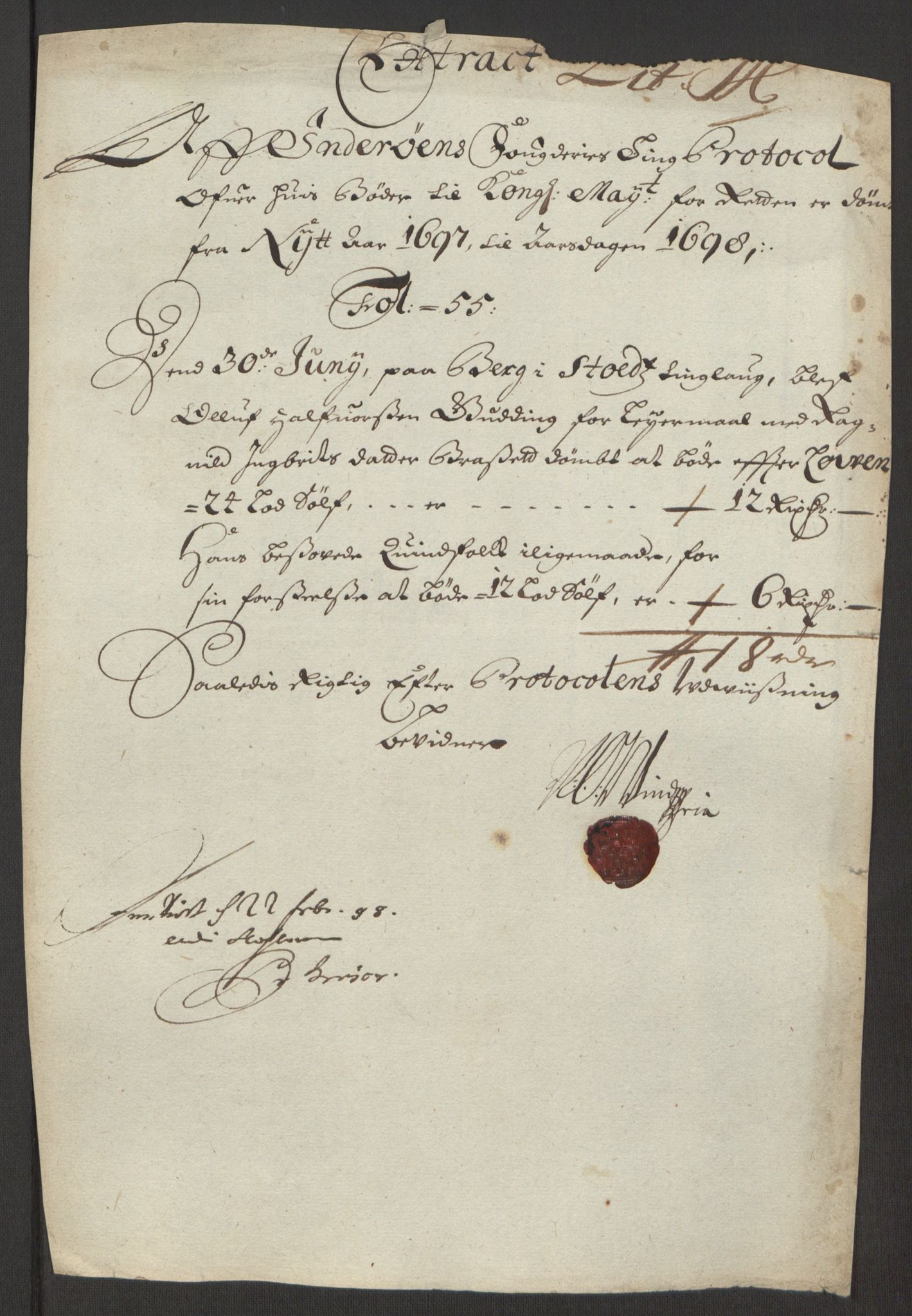 RA, Rentekammeret inntil 1814, Reviderte regnskaper, Fogderegnskap, R63/L4309: Fogderegnskap Inderøy, 1695-1697, s. 498