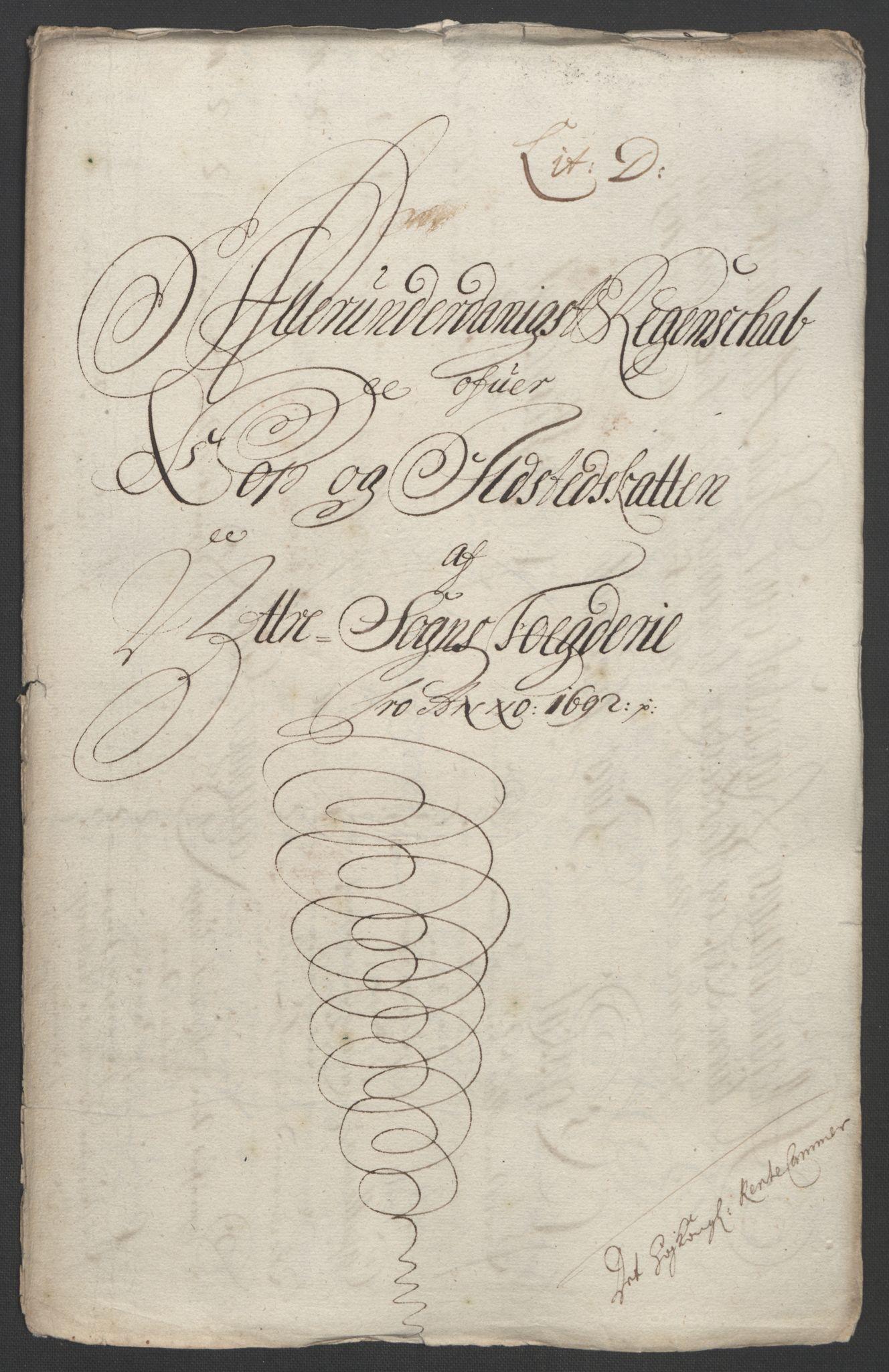 RA, Rentekammeret inntil 1814, Reviderte regnskaper, Fogderegnskap, R52/L3306: Fogderegnskap Sogn, 1691-1692, s. 345