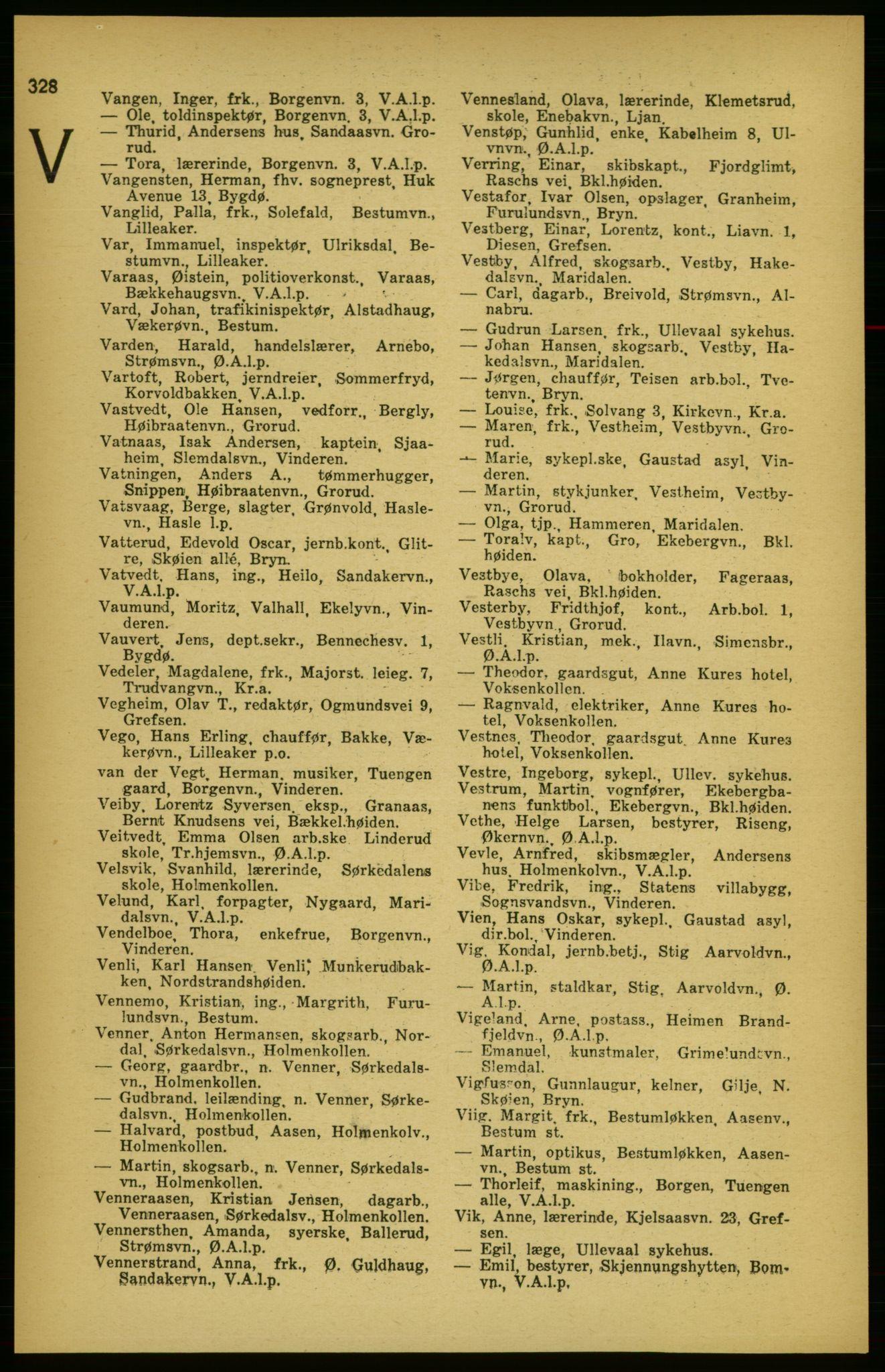 PUBL, Aker adressebok/adressekalender, 1924-1925, s. 328