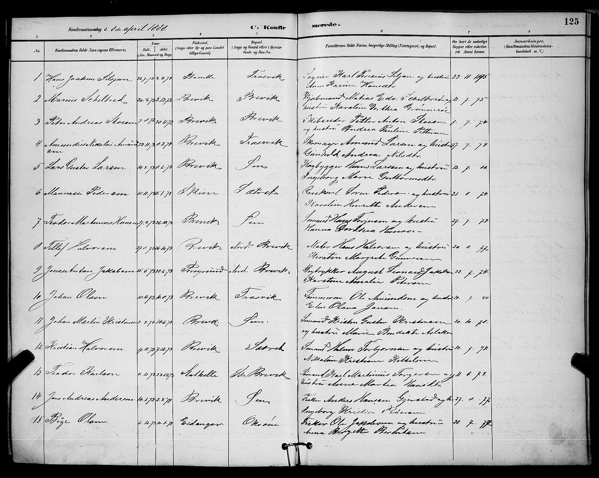 SAKO, Brevik kirkebøker, G/Ga/L0004: Klokkerbok nr. 4, 1882-1900, s. 125