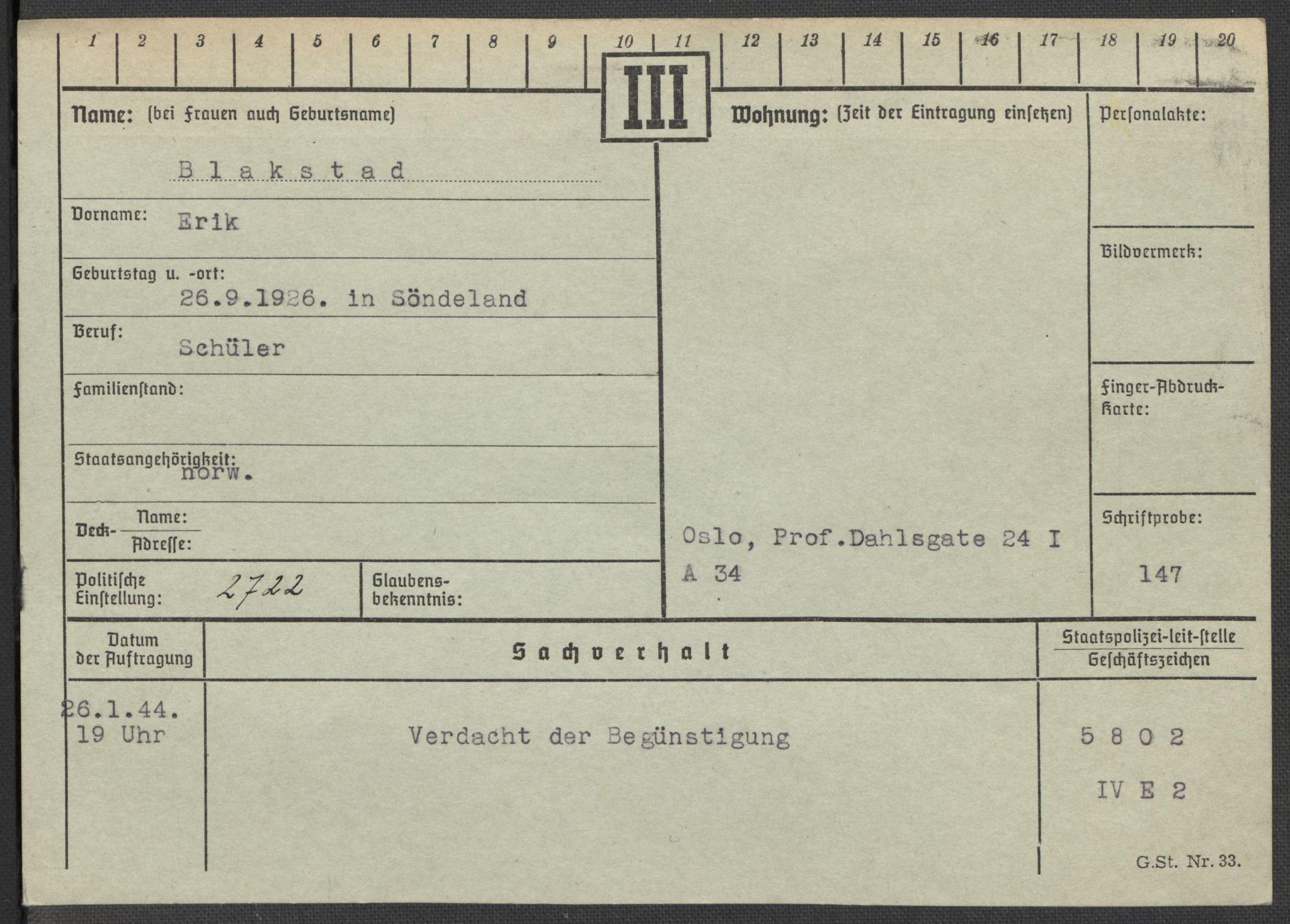 RA, Befehlshaber der Sicherheitspolizei und des SD, E/Ea/Eaa/L0002: Register over norske fanger i Møllergata 19: Bj-Eng, 1940-1945, s. 2