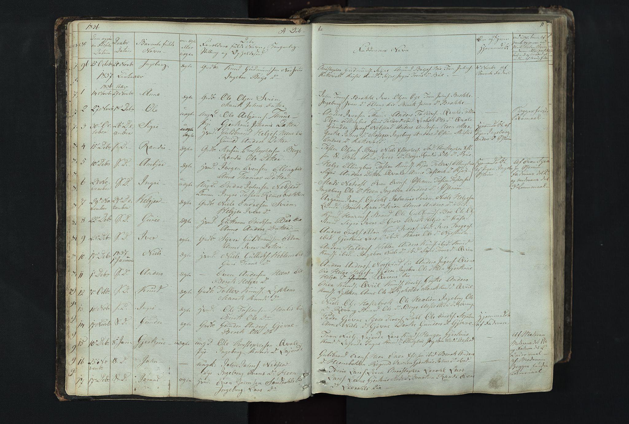 SAH, Vang prestekontor, Valdres, Klokkerbok nr. 4, 1835-1892, s. 11