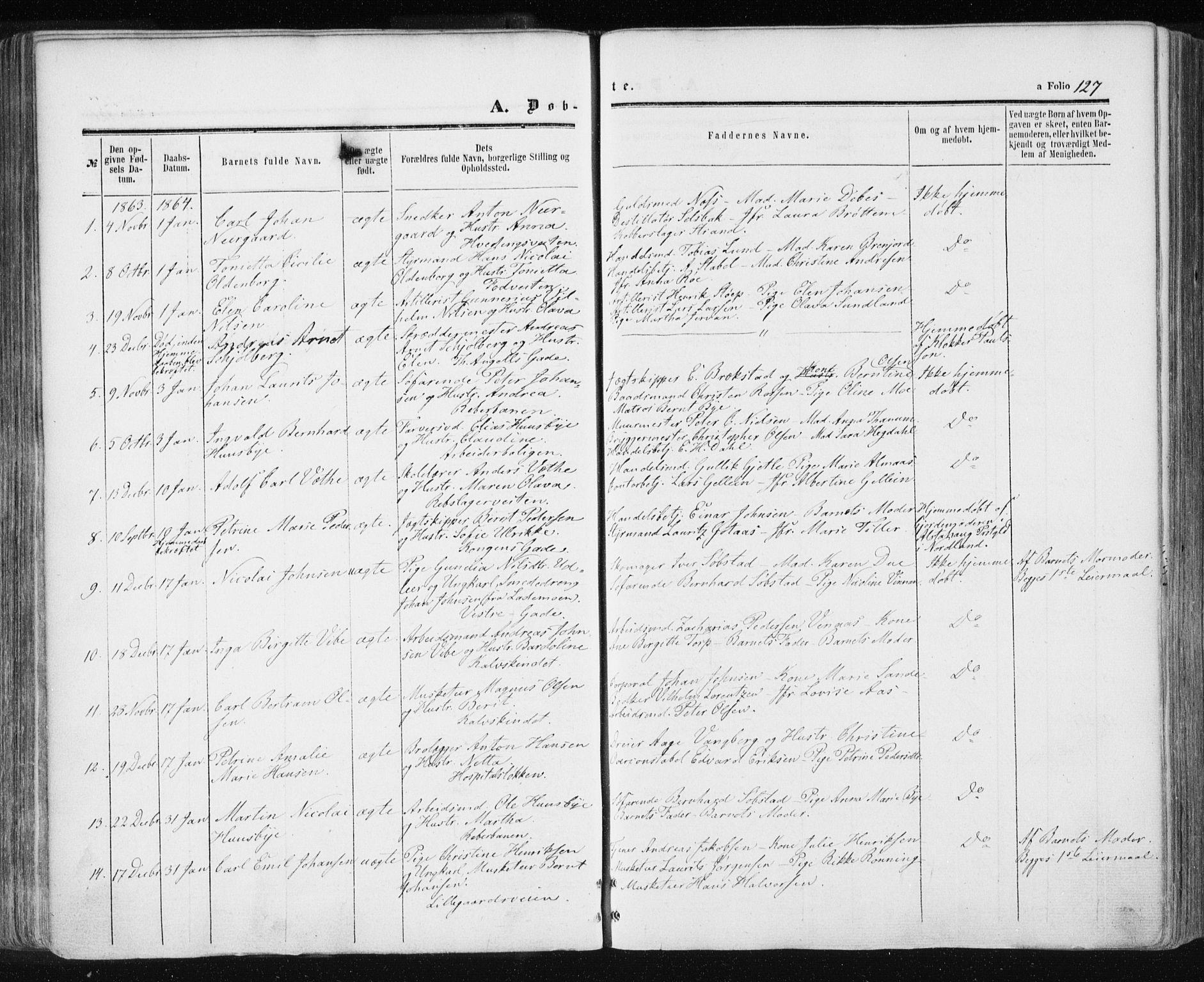 SAT, Ministerialprotokoller, klokkerbøker og fødselsregistre - Sør-Trøndelag, 601/L0053: Ministerialbok nr. 601A21, 1857-1865, s. 127