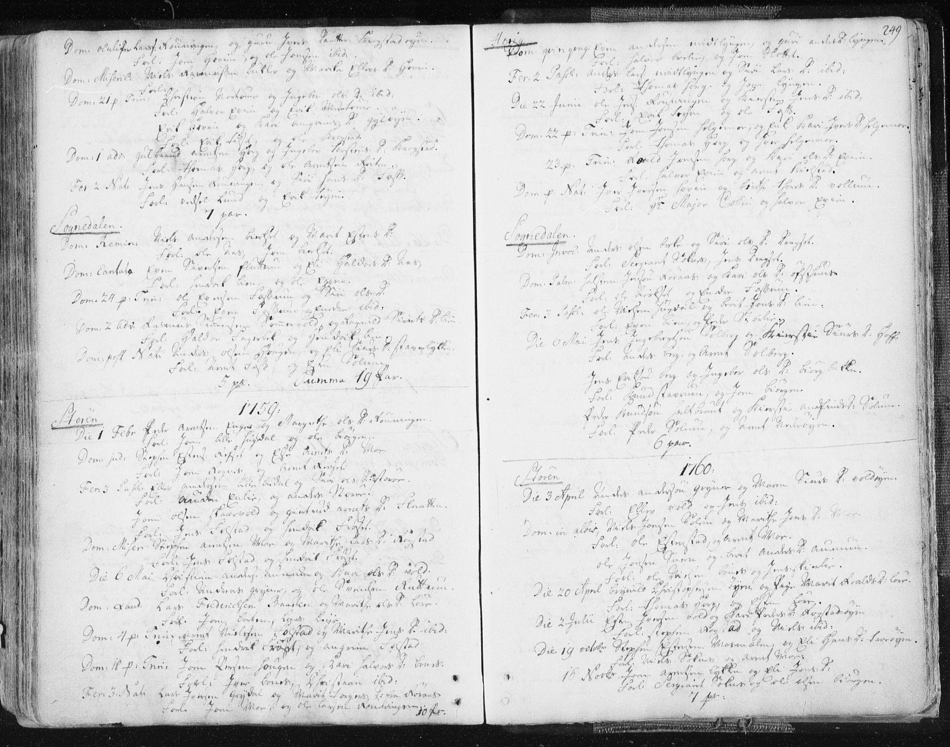 SAT, Ministerialprotokoller, klokkerbøker og fødselsregistre - Sør-Trøndelag, 687/L0991: Ministerialbok nr. 687A02, 1747-1790, s. 249