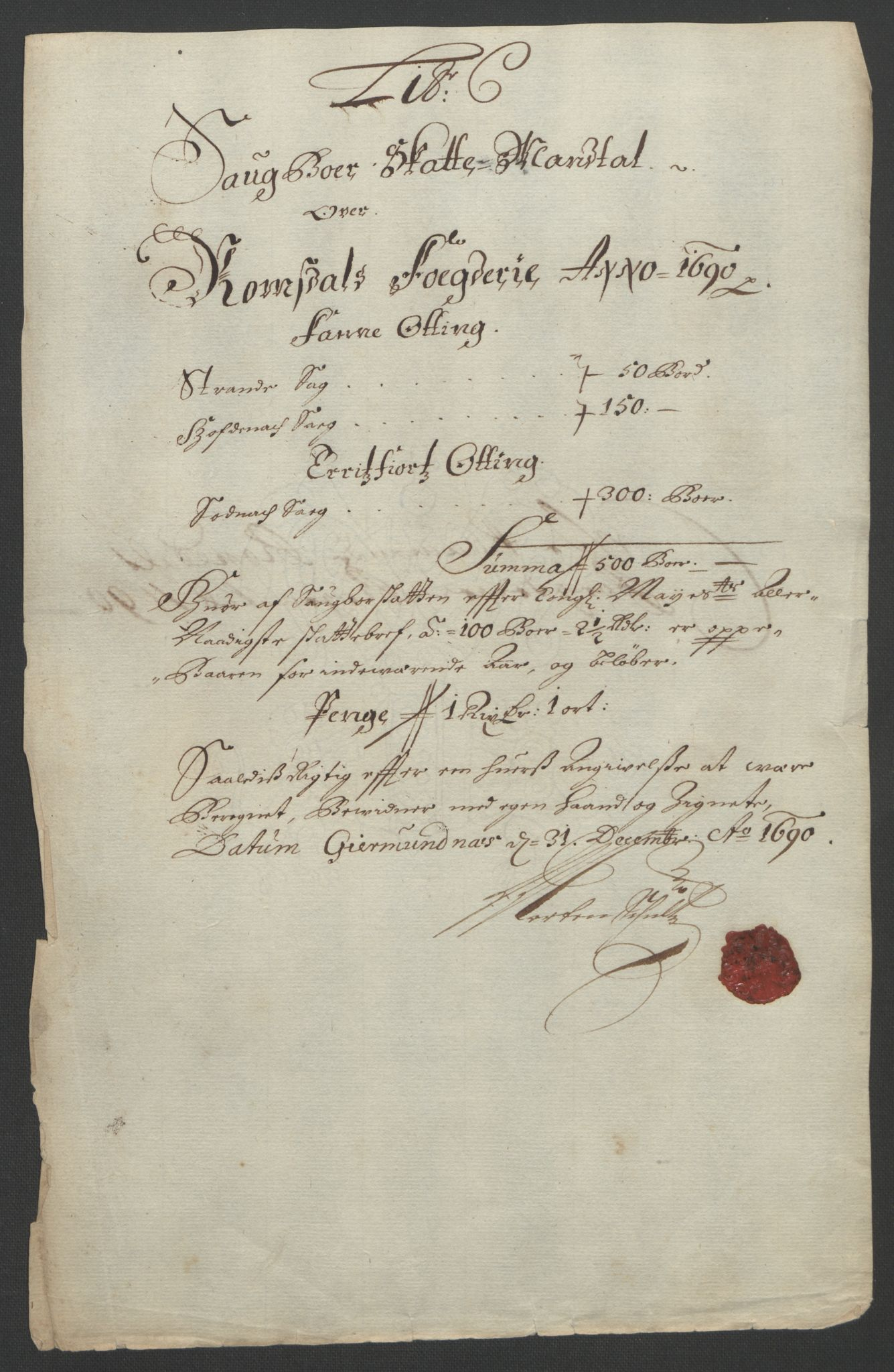 RA, Rentekammeret inntil 1814, Reviderte regnskaper, Fogderegnskap, R55/L3649: Fogderegnskap Romsdal, 1690-1691, s. 62