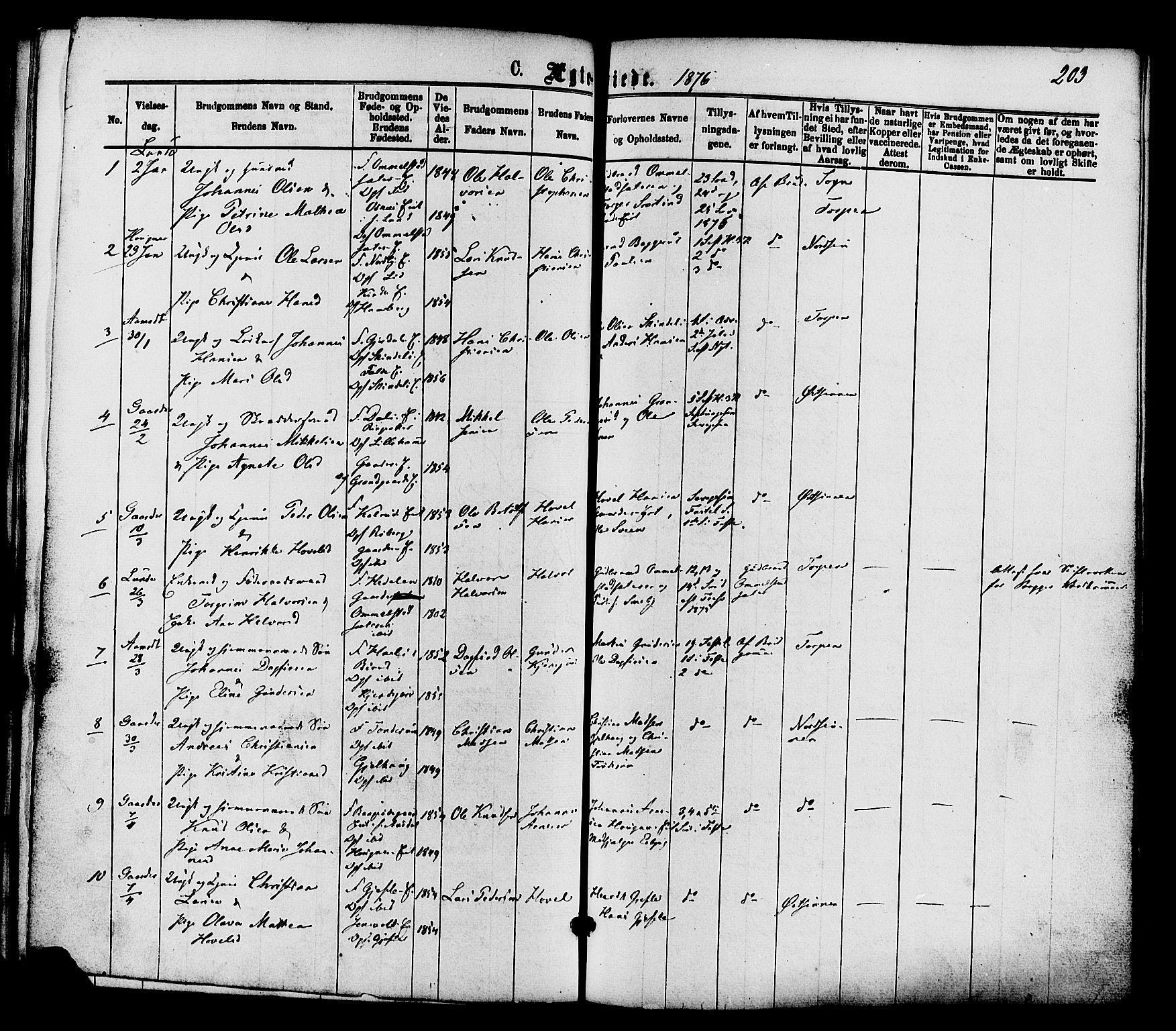 SAH, Nordre Land prestekontor, Ministerialbok nr. 2, 1872-1881, s. 203