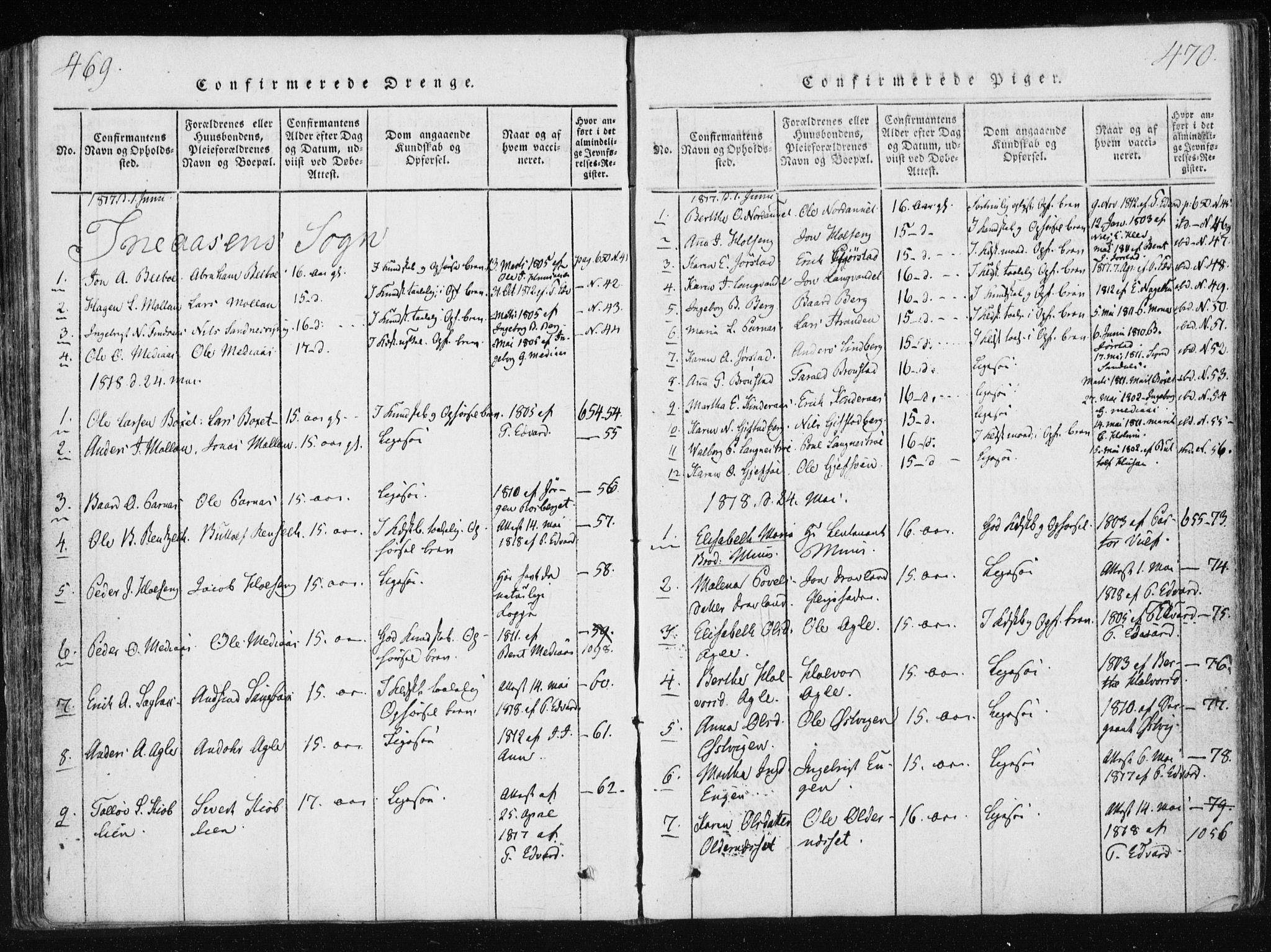 SAT, Ministerialprotokoller, klokkerbøker og fødselsregistre - Nord-Trøndelag, 749/L0469: Ministerialbok nr. 749A03, 1817-1857, s. 469-470