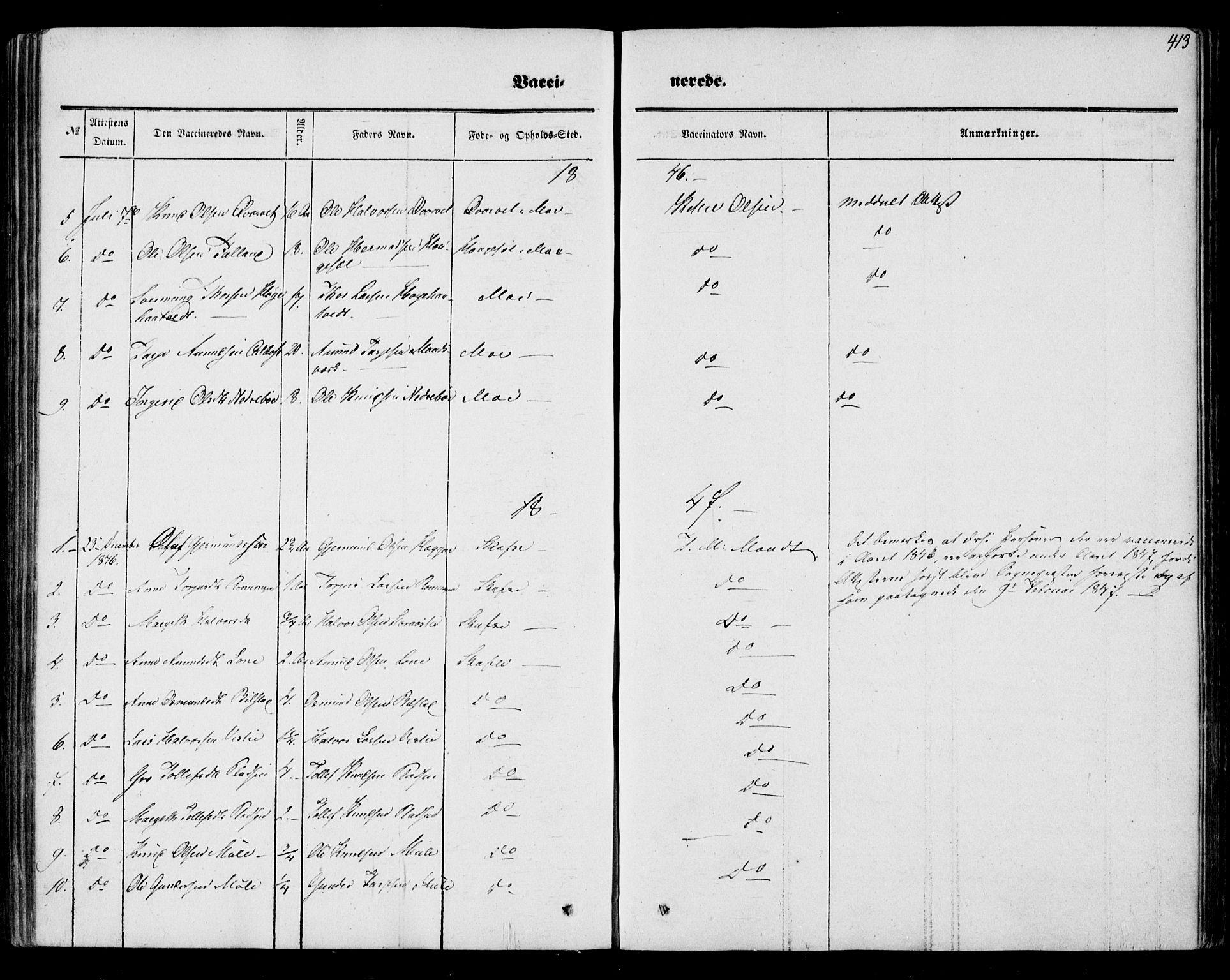 SAKO, Mo kirkebøker, F/Fa/L0005: Ministerialbok nr. I 5, 1844-1864, s. 413
