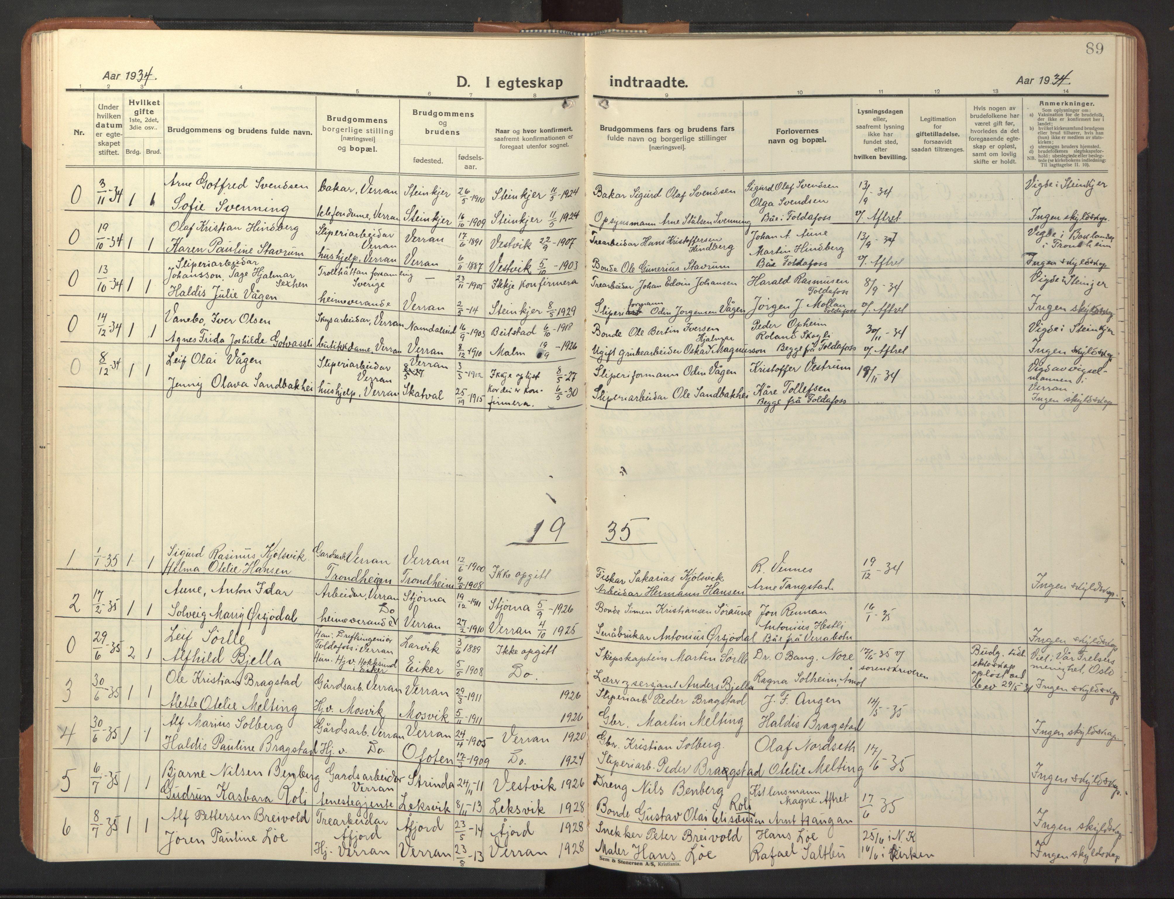 SAT, Ministerialprotokoller, klokkerbøker og fødselsregistre - Nord-Trøndelag, 744/L0425: Klokkerbok nr. 744C04, 1924-1947, s. 89