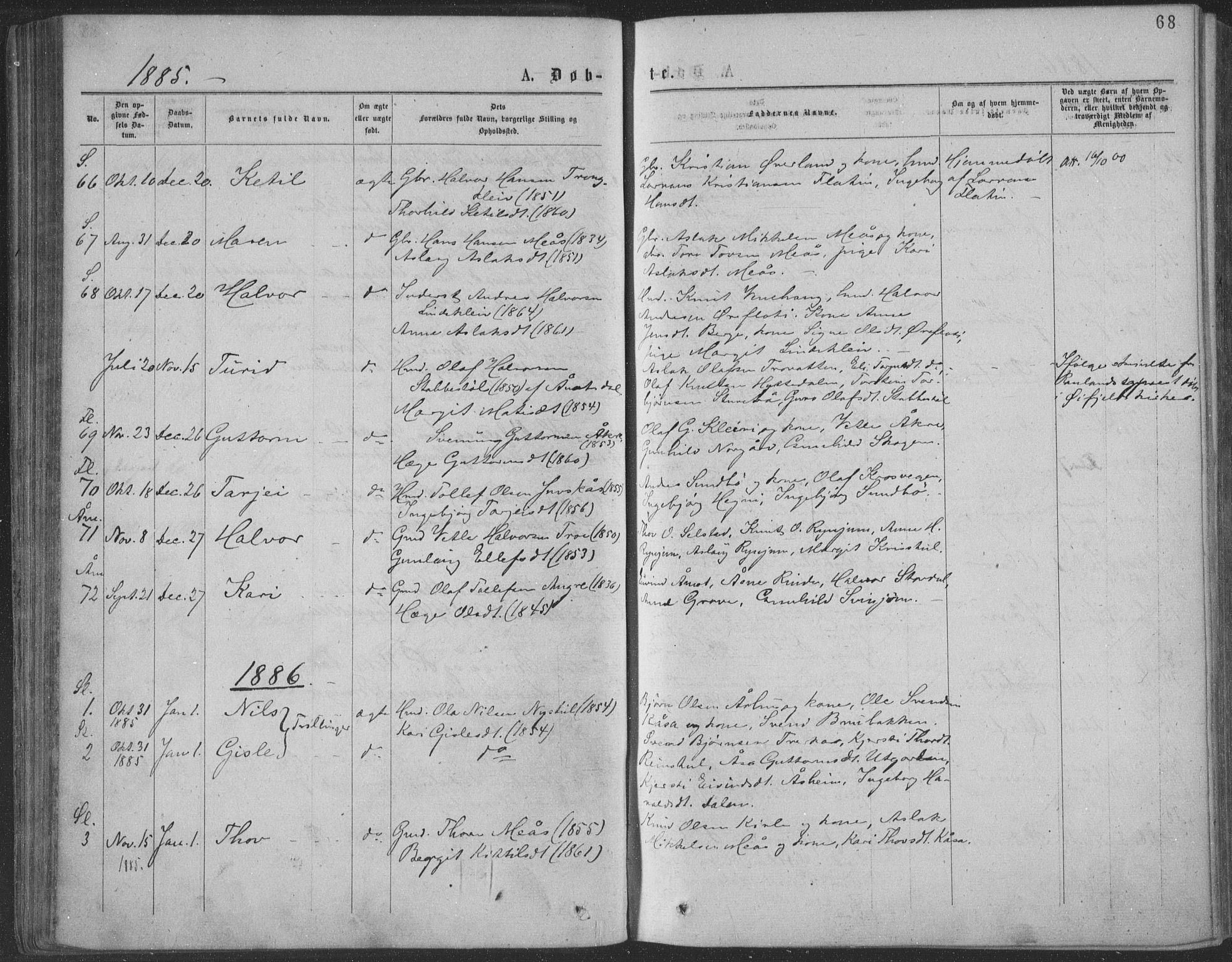 SAKO, Seljord kirkebøker, F/Fa/L0014: Ministerialbok nr. I 14, 1877-1886, s. 68
