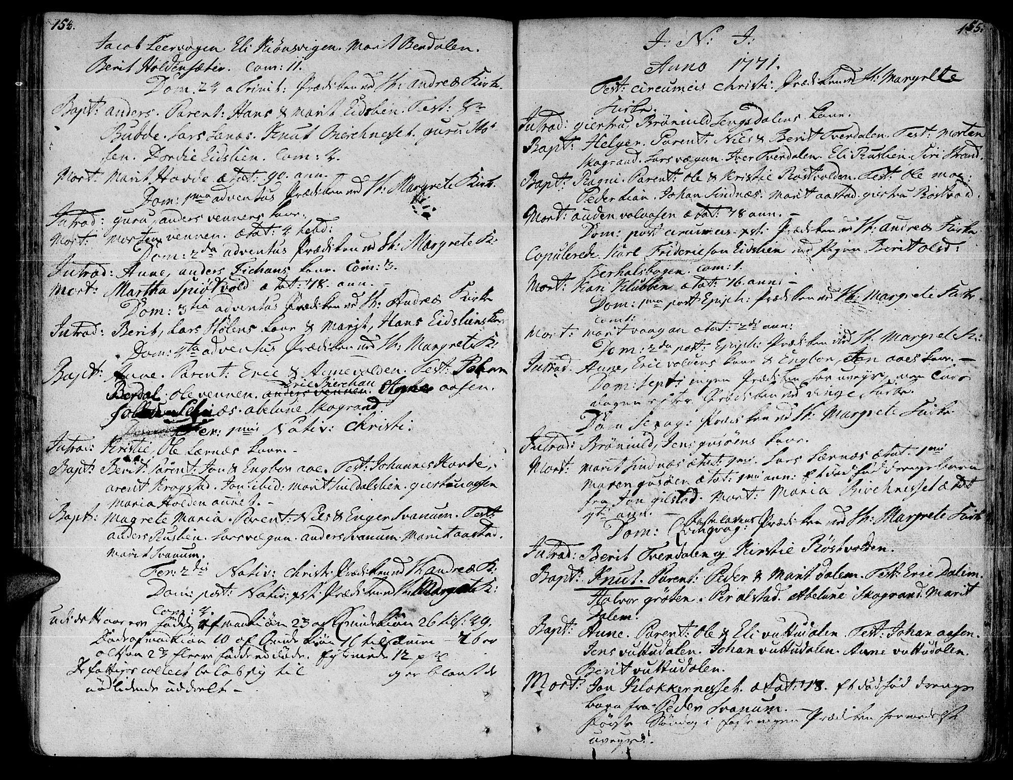 SAT, Ministerialprotokoller, klokkerbøker og fødselsregistre - Sør-Trøndelag, 630/L0489: Ministerialbok nr. 630A02, 1757-1794, s. 154-155