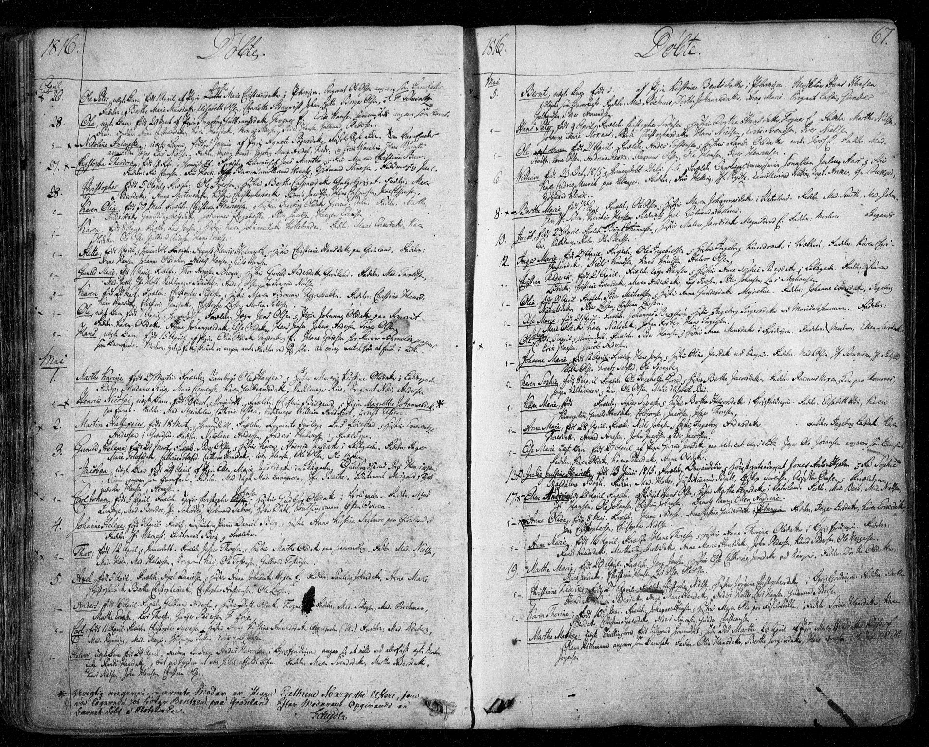 SAO, Aker prestekontor kirkebøker, F/L0011: Ministerialbok nr. 11, 1810-1819, s. 67