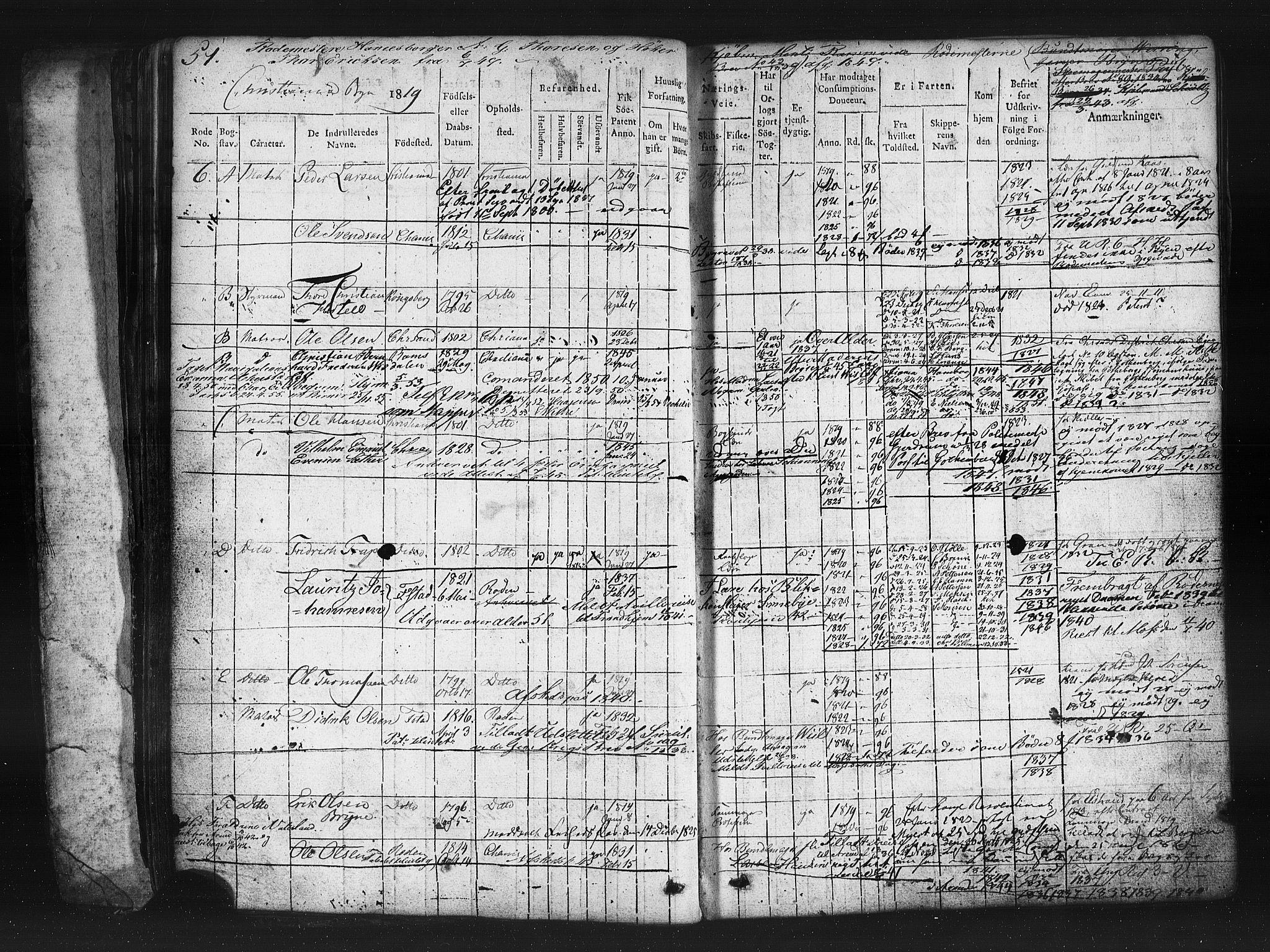 SAO, Oslo mønstringskontor, F/Fc/Fcb/L0001: Hovedrulle, 1819, s. 51