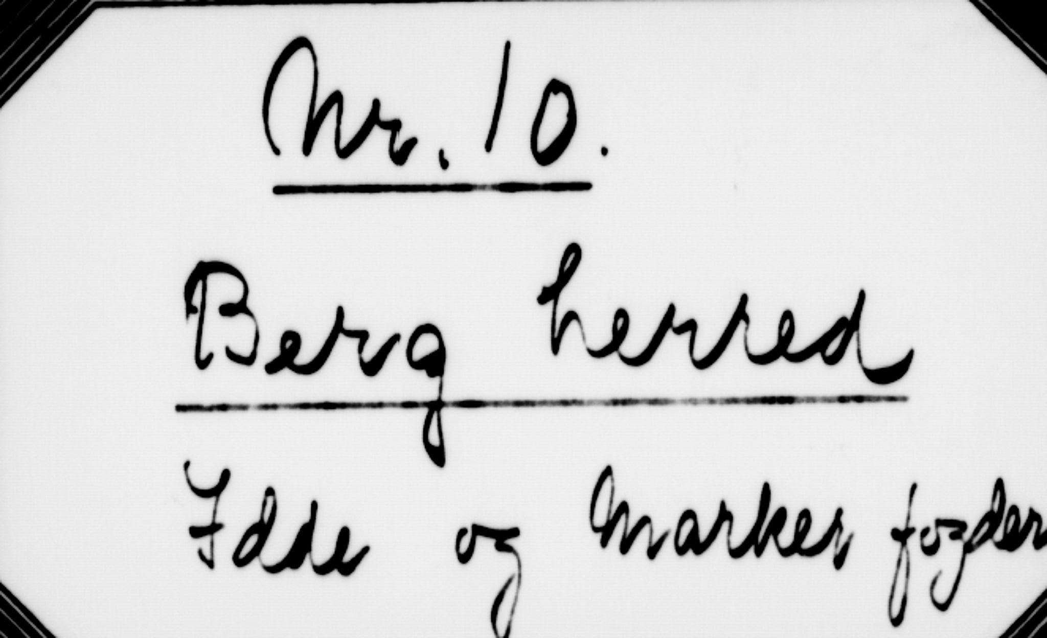 RA, Matrikkelrevisjonen av 1863, F/Fe/L0010: Berg, 1863