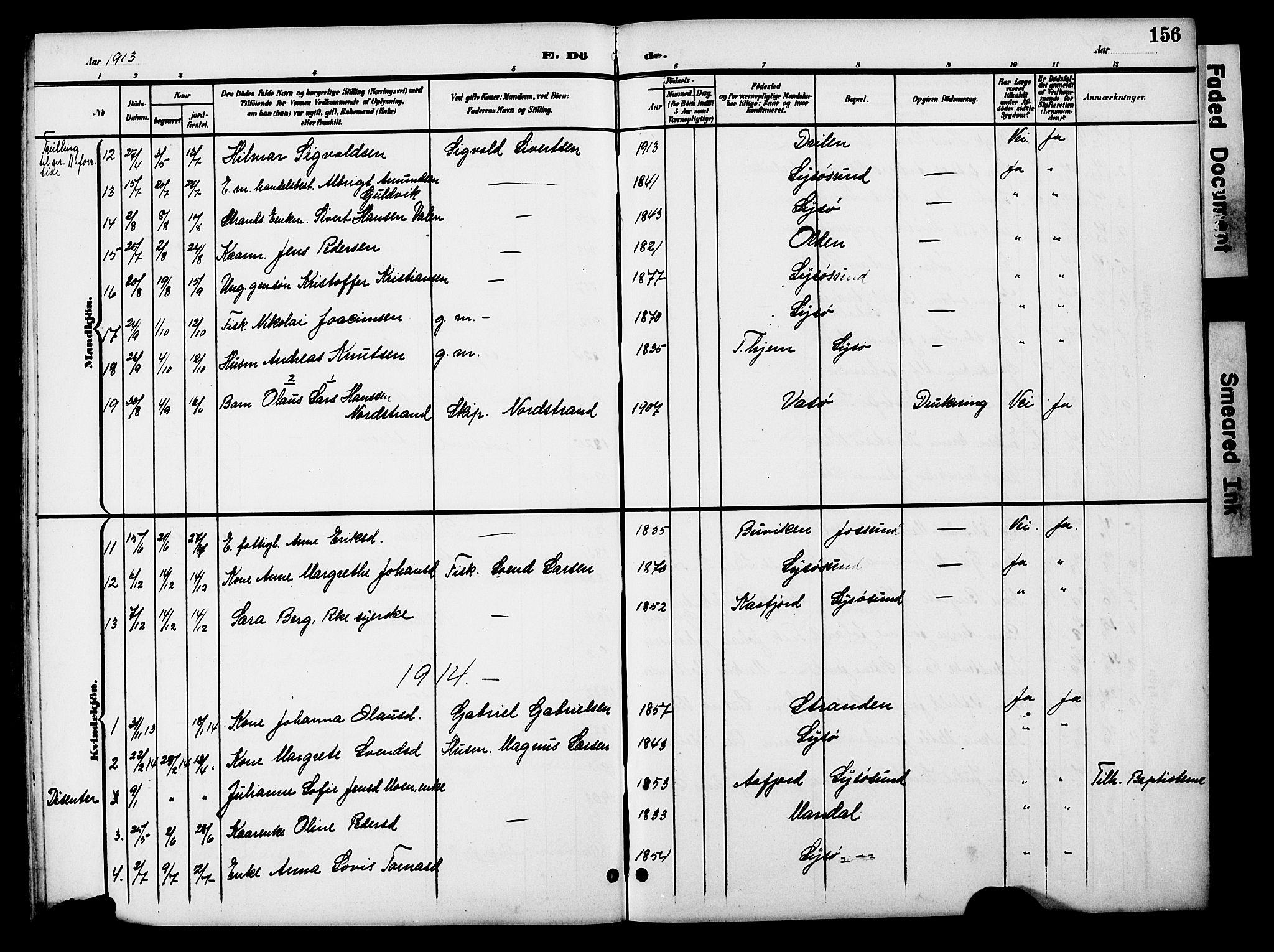 SAT, Ministerialprotokoller, klokkerbøker og fødselsregistre - Sør-Trøndelag, 654/L0666: Klokkerbok nr. 654C02, 1901-1925, s. 156