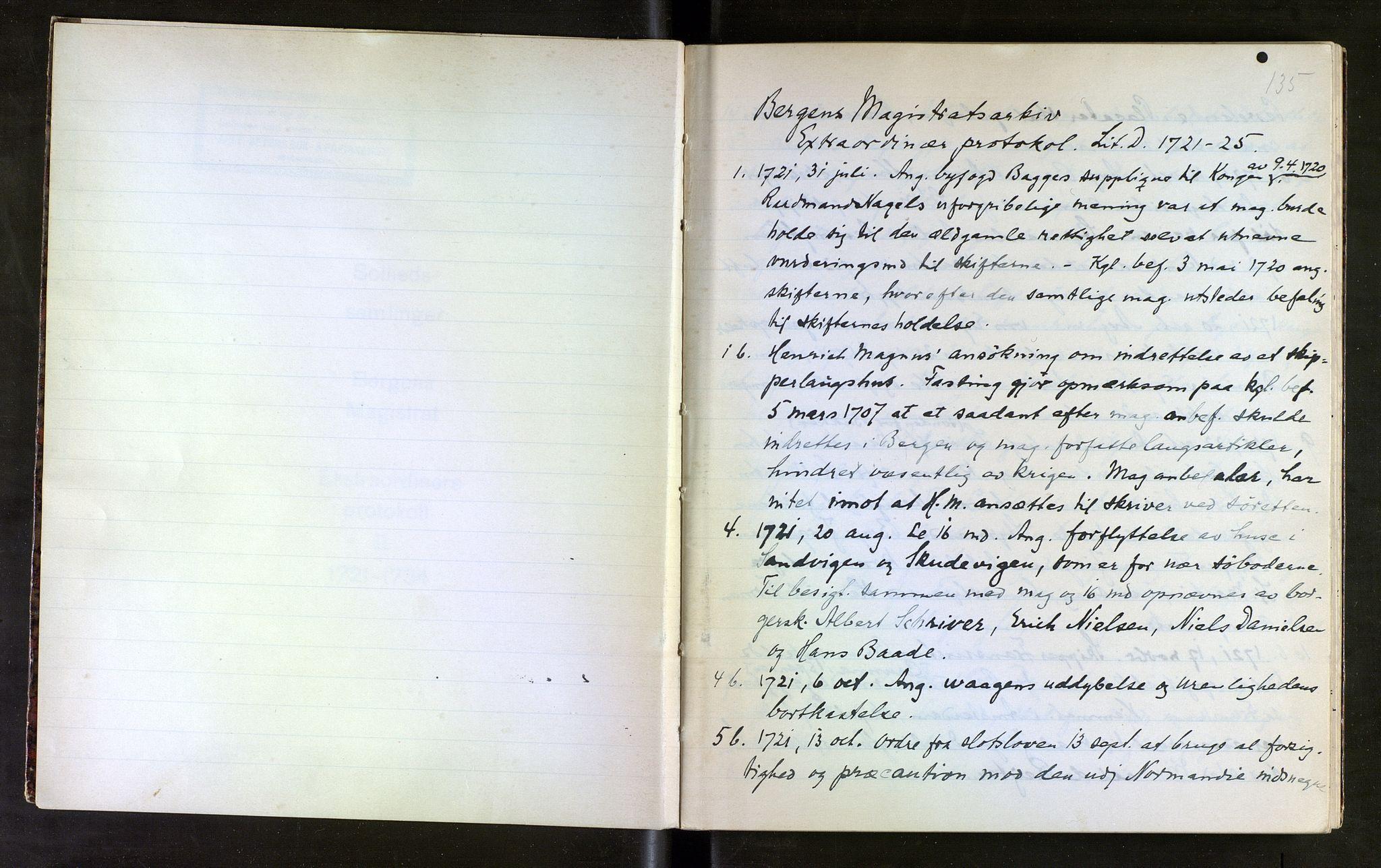 SAB, Sollied, Olaf og Thora - samlinger, 01/L0016: Utdrag av diverse, 1721-1734