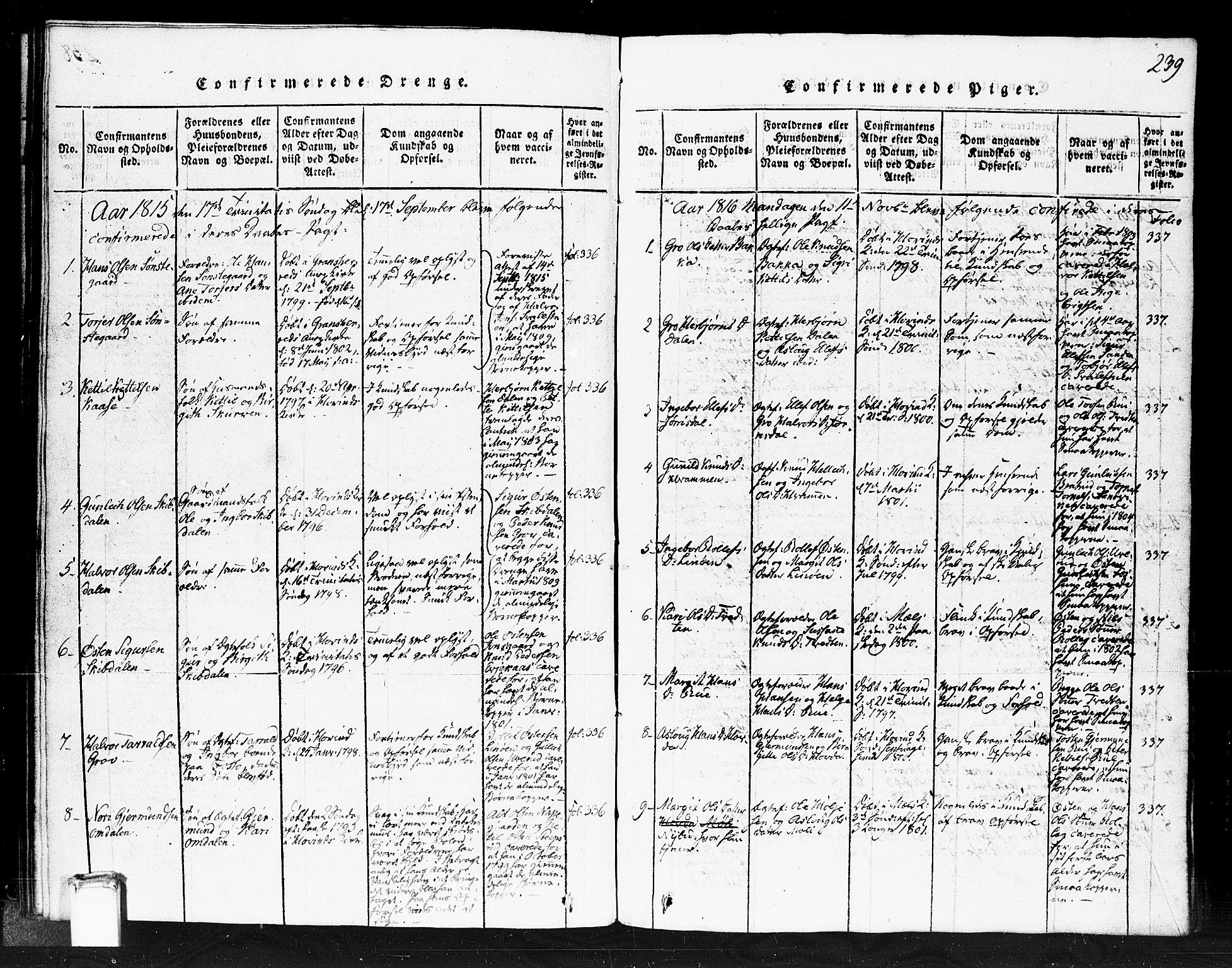 SAKO, Gransherad kirkebøker, F/Fb/L0002: Ministerialbok nr. II 2, 1815-1843, s. 239