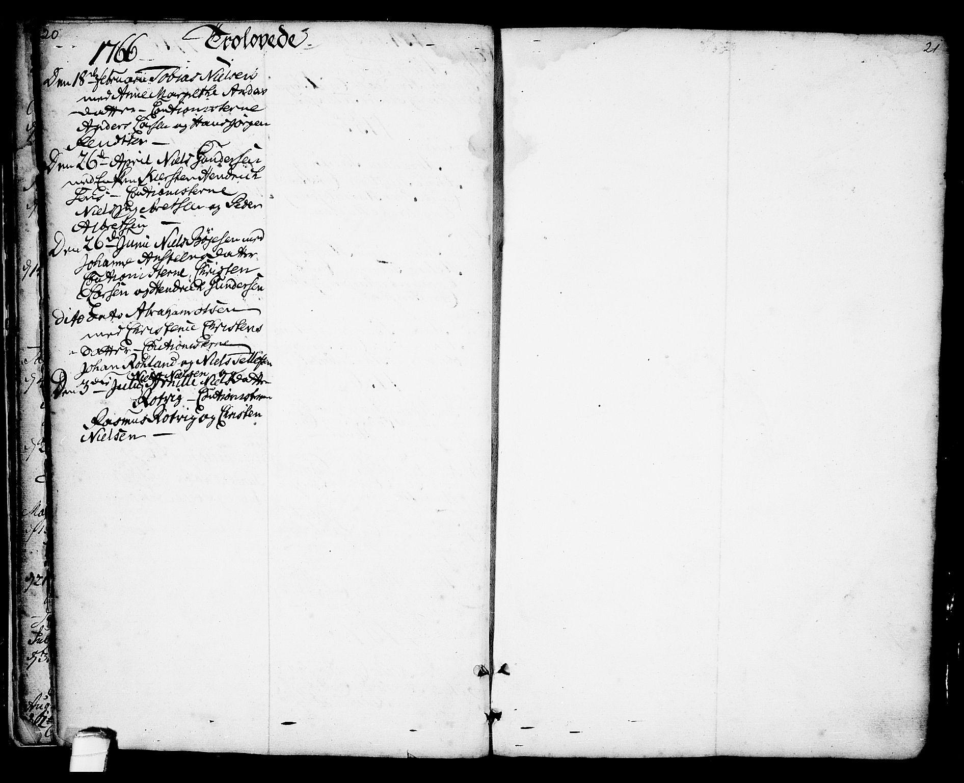 SAKO, Kragerø kirkebøker, F/Fa/L0001: Ministerialbok nr. 1, 1702-1766, s. 20-21