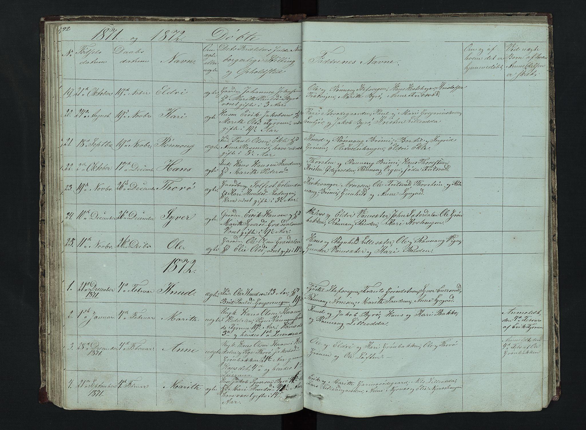 SAH, Lom prestekontor, L/L0014: Klokkerbok nr. 14, 1845-1876, s. 92-93