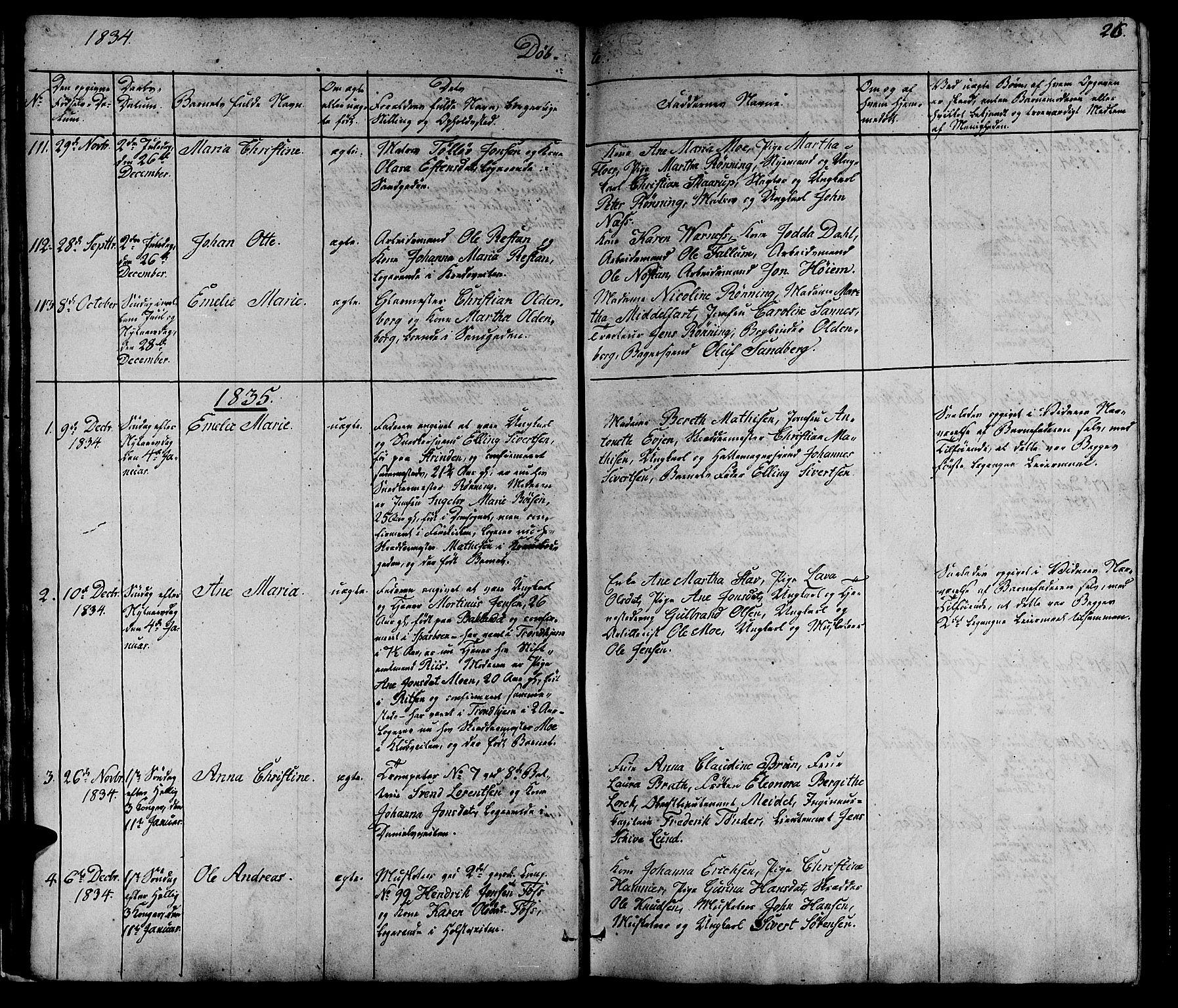 SAT, Ministerialprotokoller, klokkerbøker og fødselsregistre - Sør-Trøndelag, 602/L0136: Klokkerbok nr. 602C04, 1833-1845, s. 26
