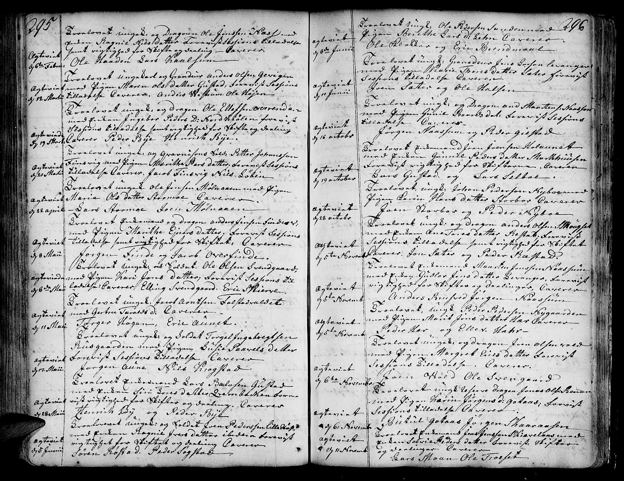 SAT, Ministerialprotokoller, klokkerbøker og fødselsregistre - Nord-Trøndelag, 717/L0141: Ministerialbok nr. 717A01, 1747-1803, s. 295-296