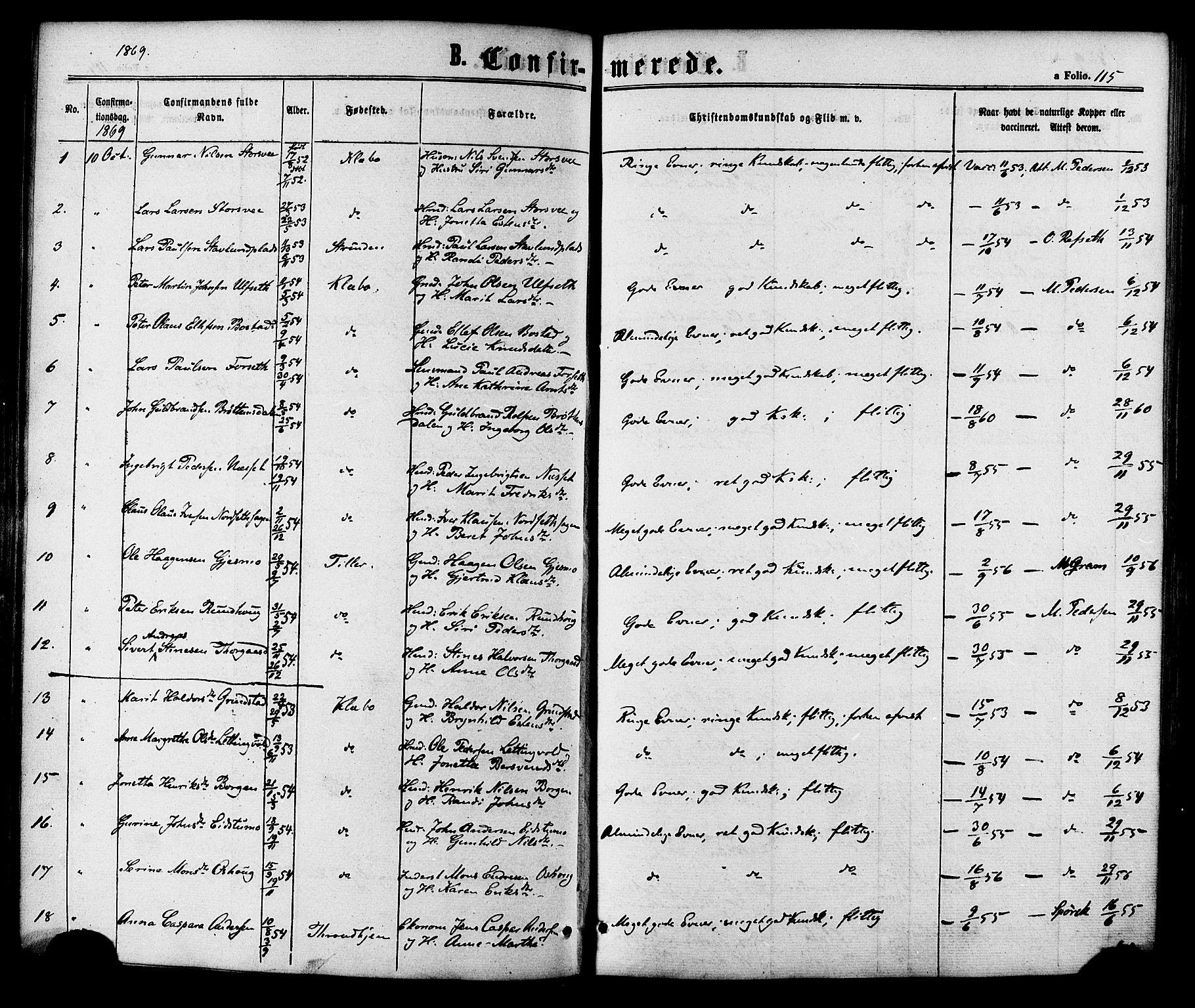 SAT, Ministerialprotokoller, klokkerbøker og fødselsregistre - Sør-Trøndelag, 618/L0442: Ministerialbok nr. 618A06 /1, 1863-1879, s. 115