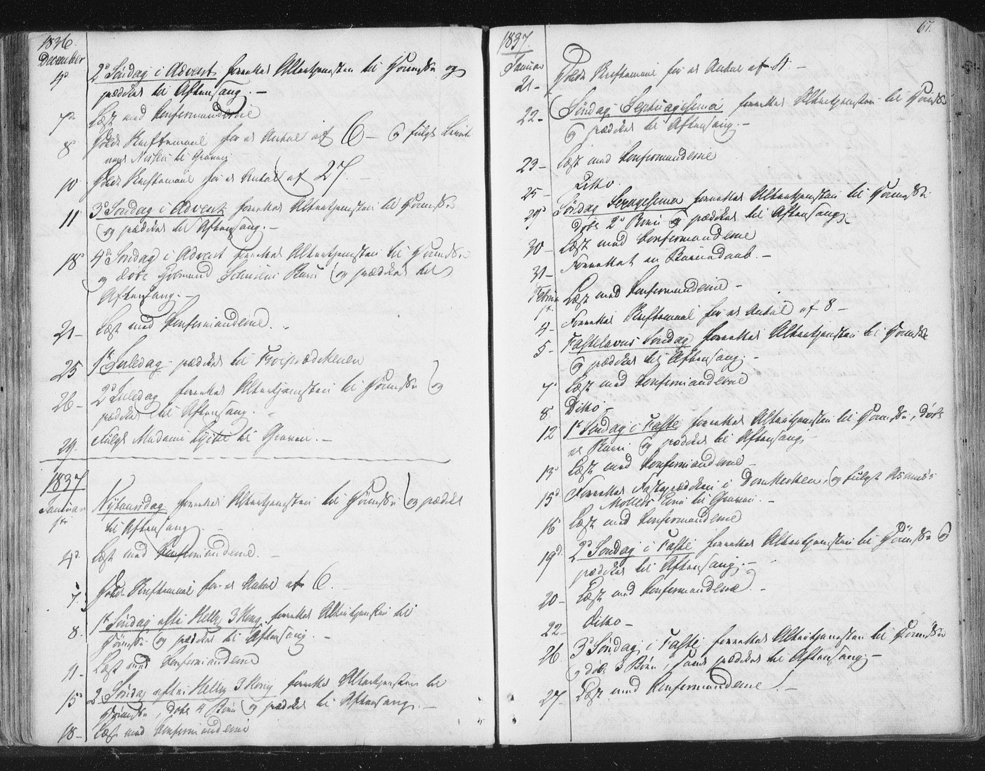 SAT, Ministerialprotokoller, klokkerbøker og fødselsregistre - Sør-Trøndelag, 602/L0127: Residerende kapellans bok nr. 602B01, 1821-1875, s. 67