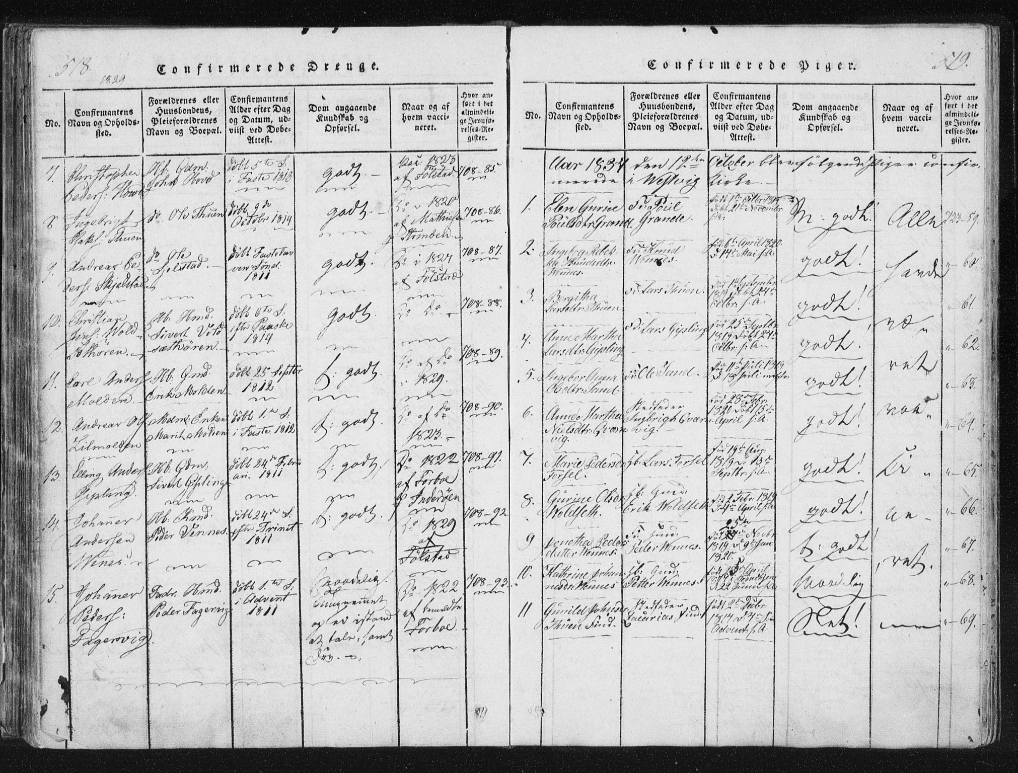 SAT, Ministerialprotokoller, klokkerbøker og fødselsregistre - Nord-Trøndelag, 744/L0417: Ministerialbok nr. 744A01, 1817-1842, s. 518-519