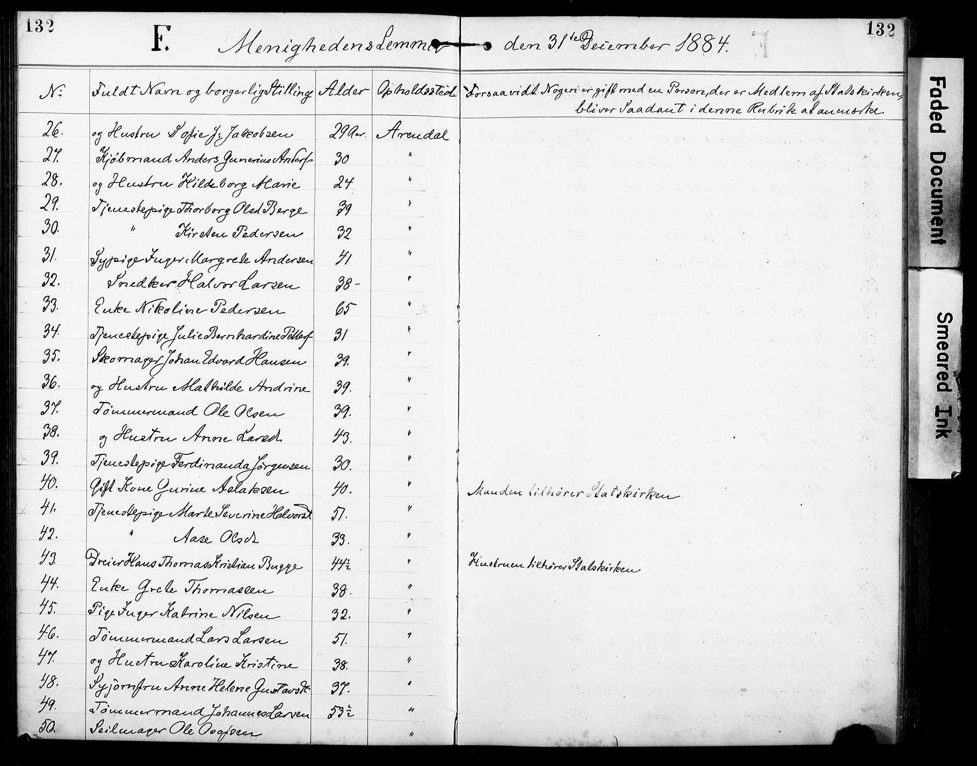 SAK, Den evangelisk-lutherske frimenighet, Arendal, F/Fa/L0002: Dissenterprotokoll nr. F 6, 1884-1908, s. 132