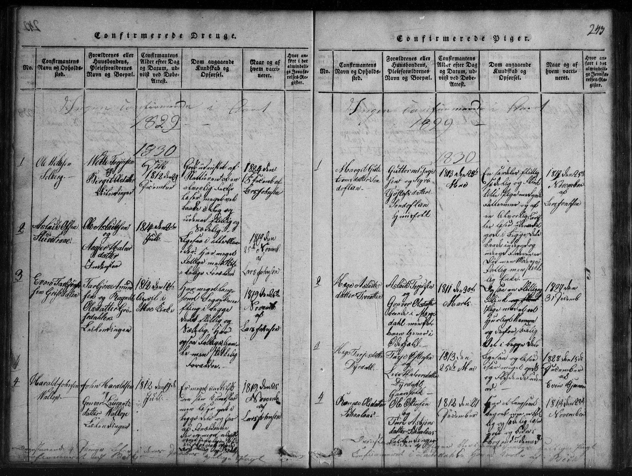 SAKO, Rauland kirkebøker, G/Gb/L0001: Klokkerbok nr. II 1, 1815-1886, s. 243