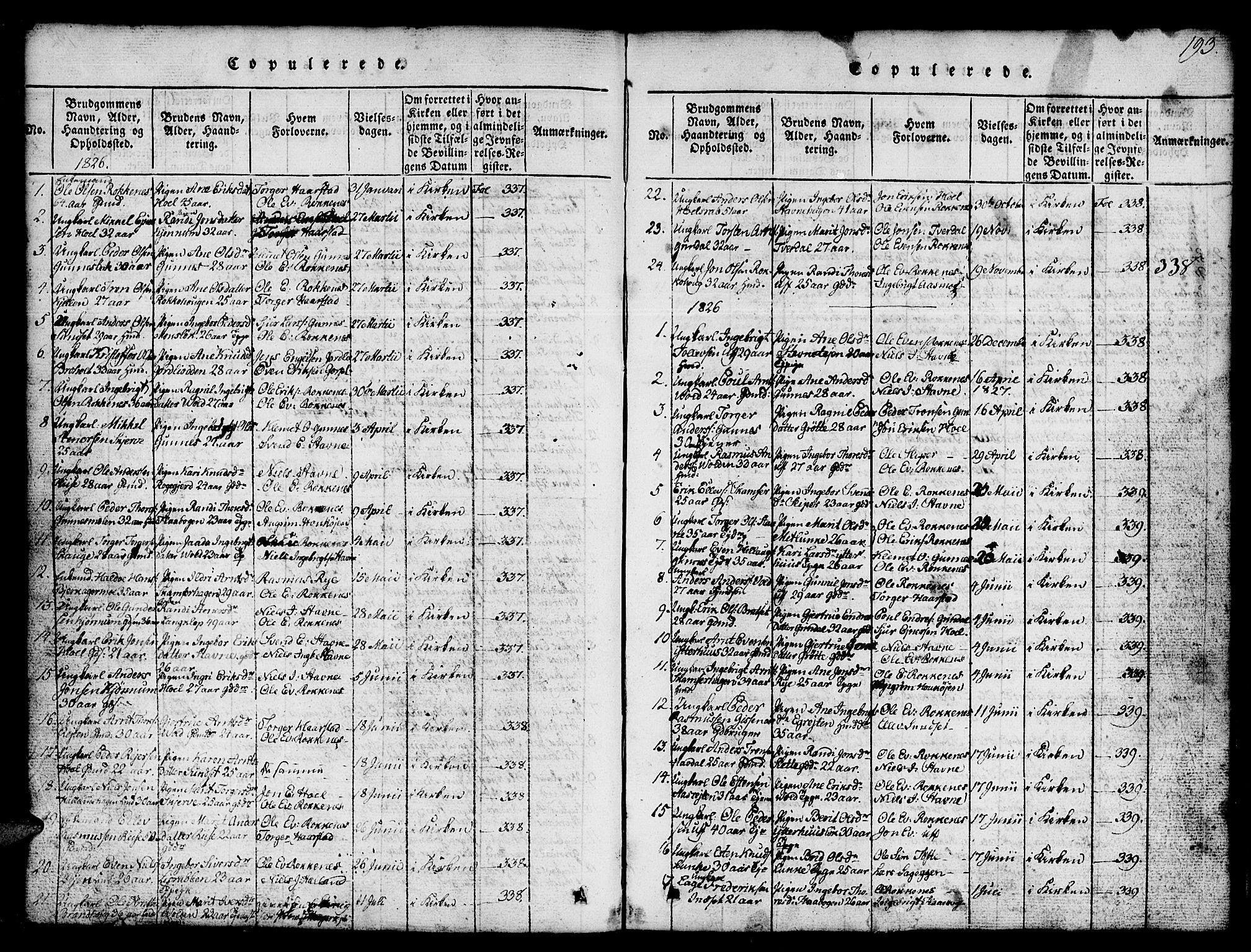 SAT, Ministerialprotokoller, klokkerbøker og fødselsregistre - Sør-Trøndelag, 674/L0874: Klokkerbok nr. 674C01, 1816-1860, s. 193