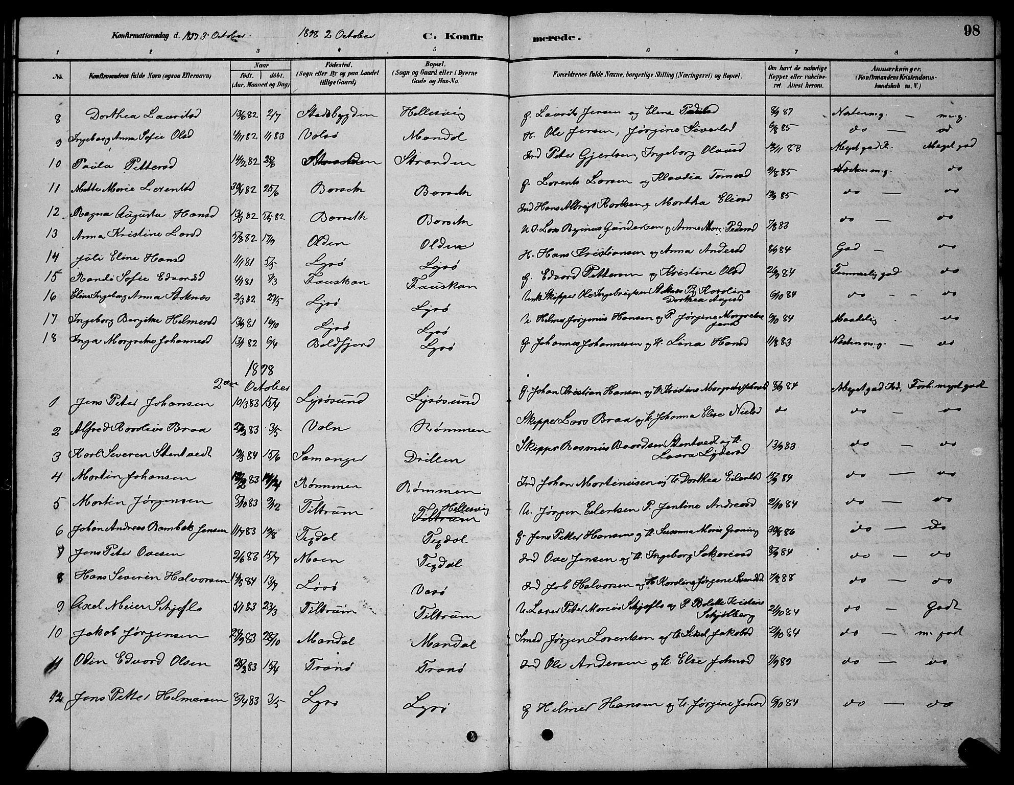 SAT, Ministerialprotokoller, klokkerbøker og fødselsregistre - Sør-Trøndelag, 654/L0665: Klokkerbok nr. 654C01, 1879-1901, s. 98