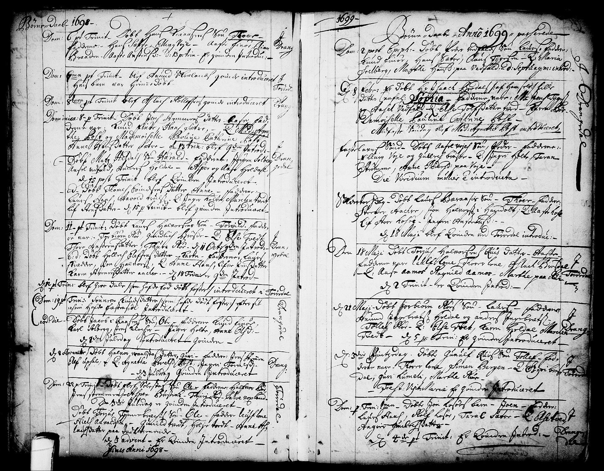 SAKO, Drangedal kirkebøker, F/Fa/L0001: Ministerialbok nr. 1, 1697-1767, s. 5