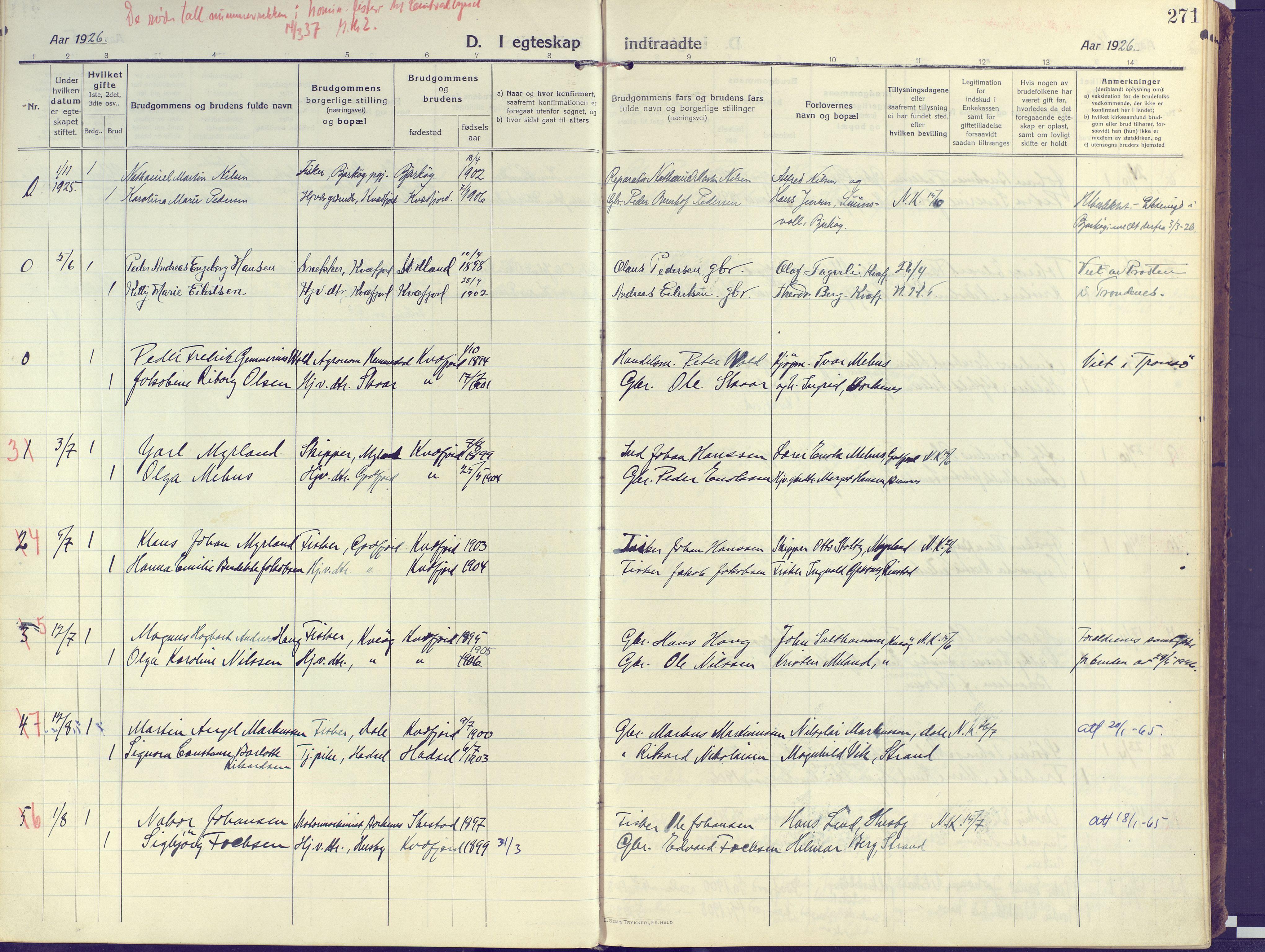 SATØ, Kvæfjord sokneprestkontor, G/Ga/Gaa/L0007kirke: Ministerialbok nr. 7, 1915-1931, s. 271
