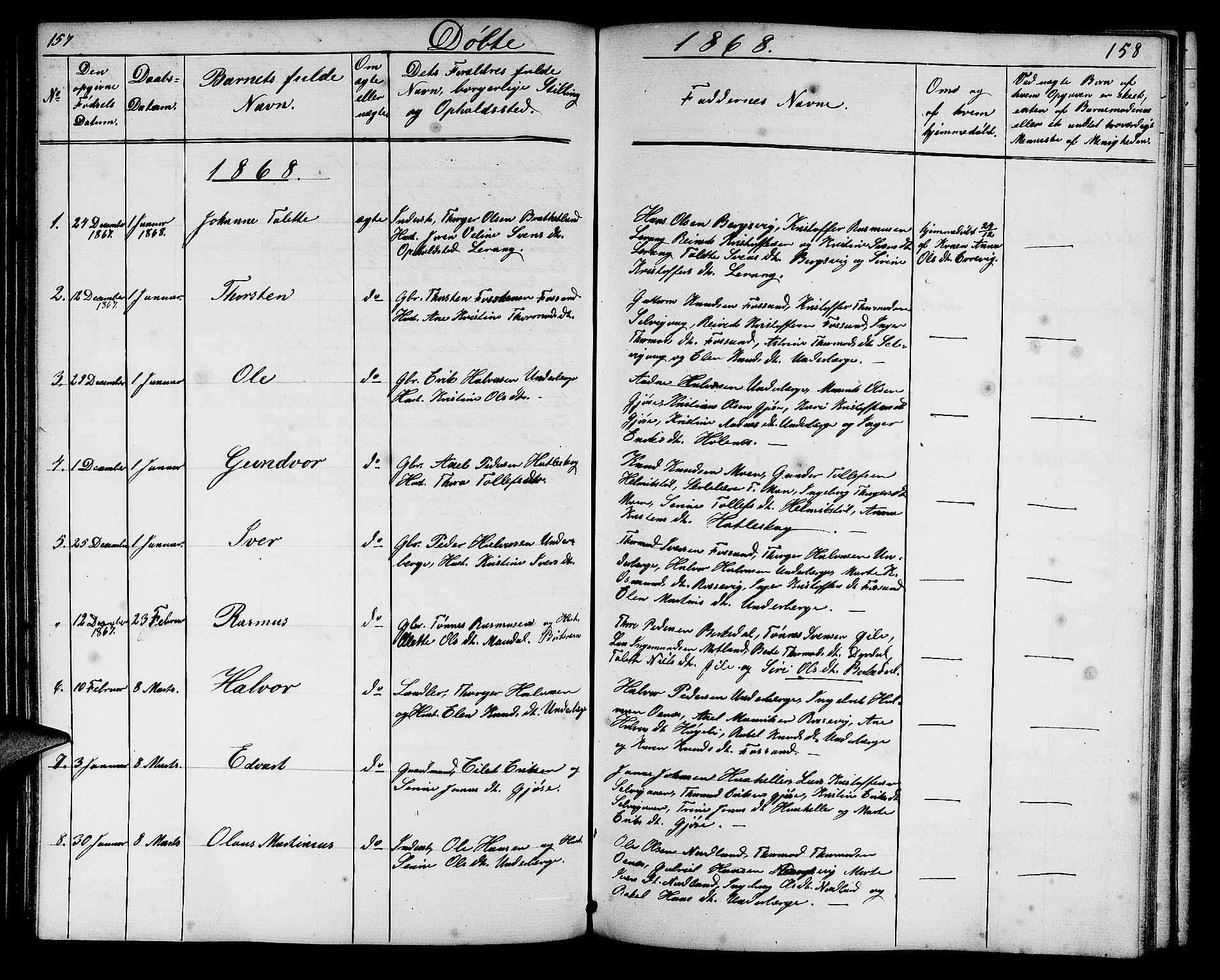 SAST, Høgsfjord sokneprestkontor, H/Ha/Hab/L0002: Klokkerbok nr. B 2, 1855-1882, s. 157-158