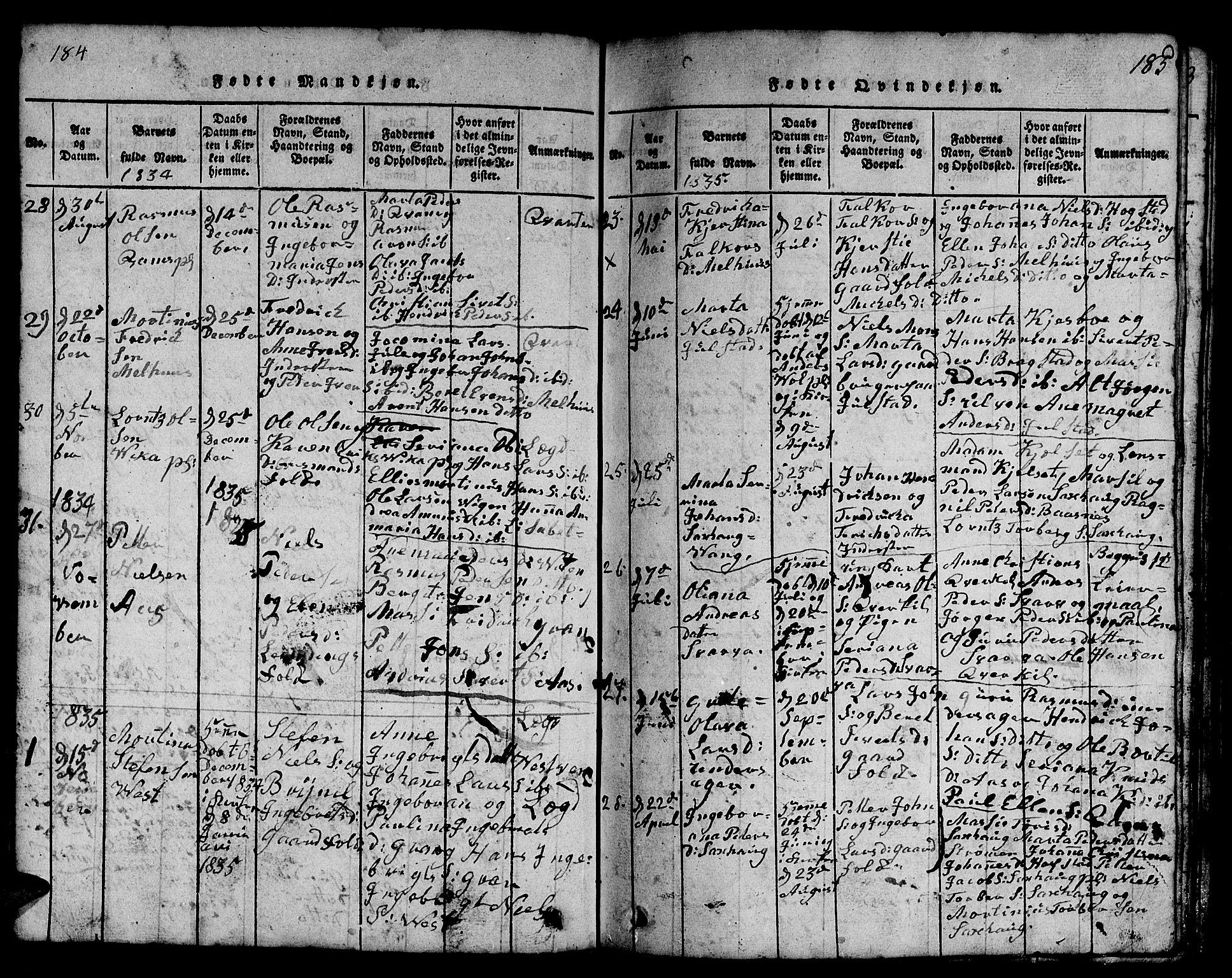 SAT, Ministerialprotokoller, klokkerbøker og fødselsregistre - Nord-Trøndelag, 730/L0298: Klokkerbok nr. 730C01, 1816-1849, s. 184-185